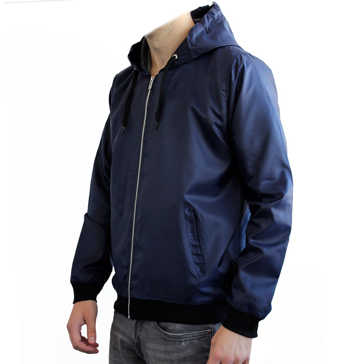 Mens Lightweight Basic Hooded Mac Rain Coat Cagoule Compact Zip Jacket Coat Top | eBay