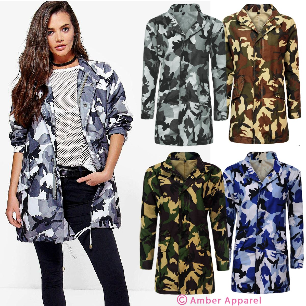 02a969d2bf565 Womens Ladies Festival Camouflage Hooded Mac Outdoor Fishtail Parka Jacket  Coat