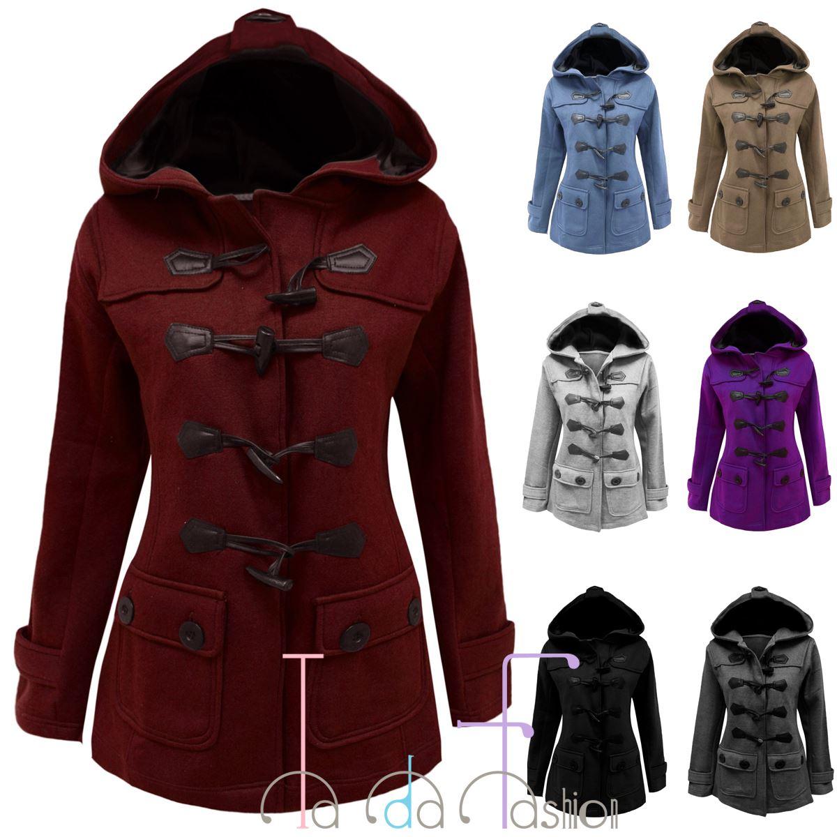 32846f33de43 TaDa Ladies Fleece Jacket Duffle Style Hooded Toggle Pocket Coat Top Plus  Size