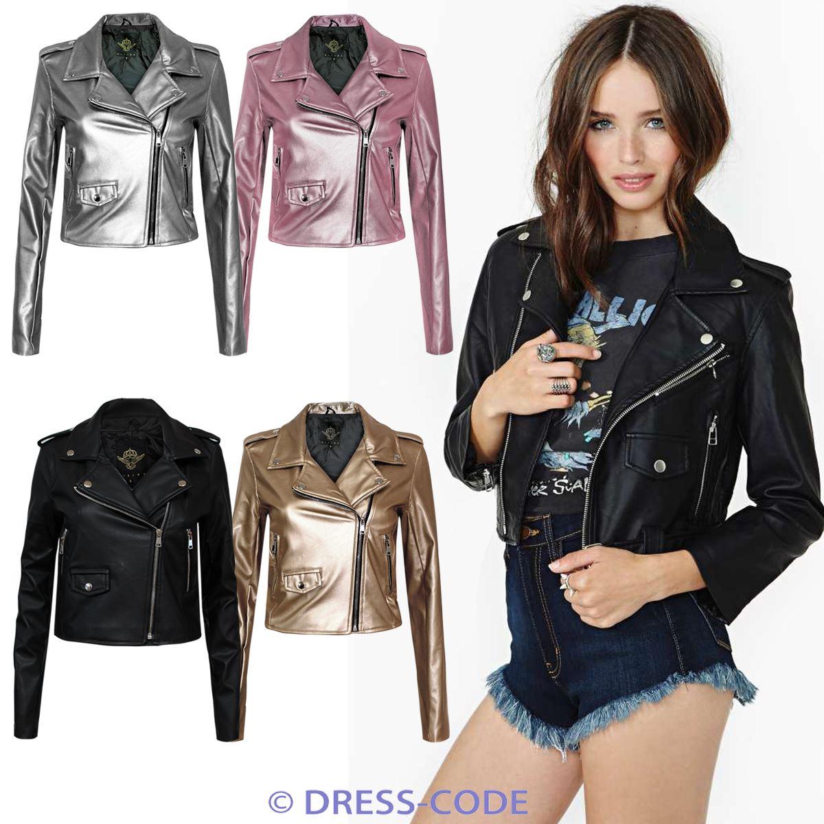 New Ladies Women's Vintage Slim Fit Biker Style Zip PU Leather Jacket Top