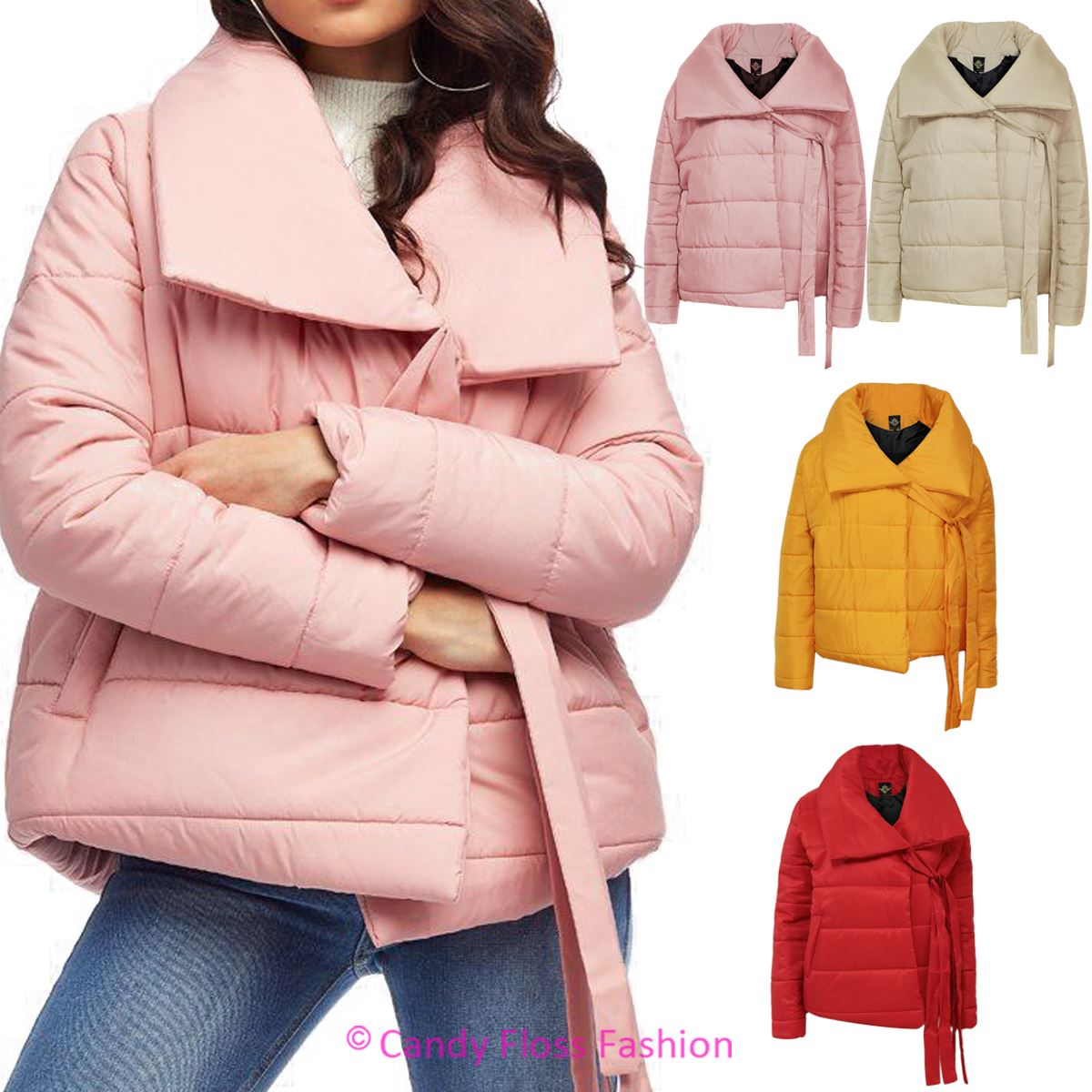 54f461353 Details about Ladies Womens Puffer Jacket Padded Baggy Oversized Collar Tie  Detail Coat Top