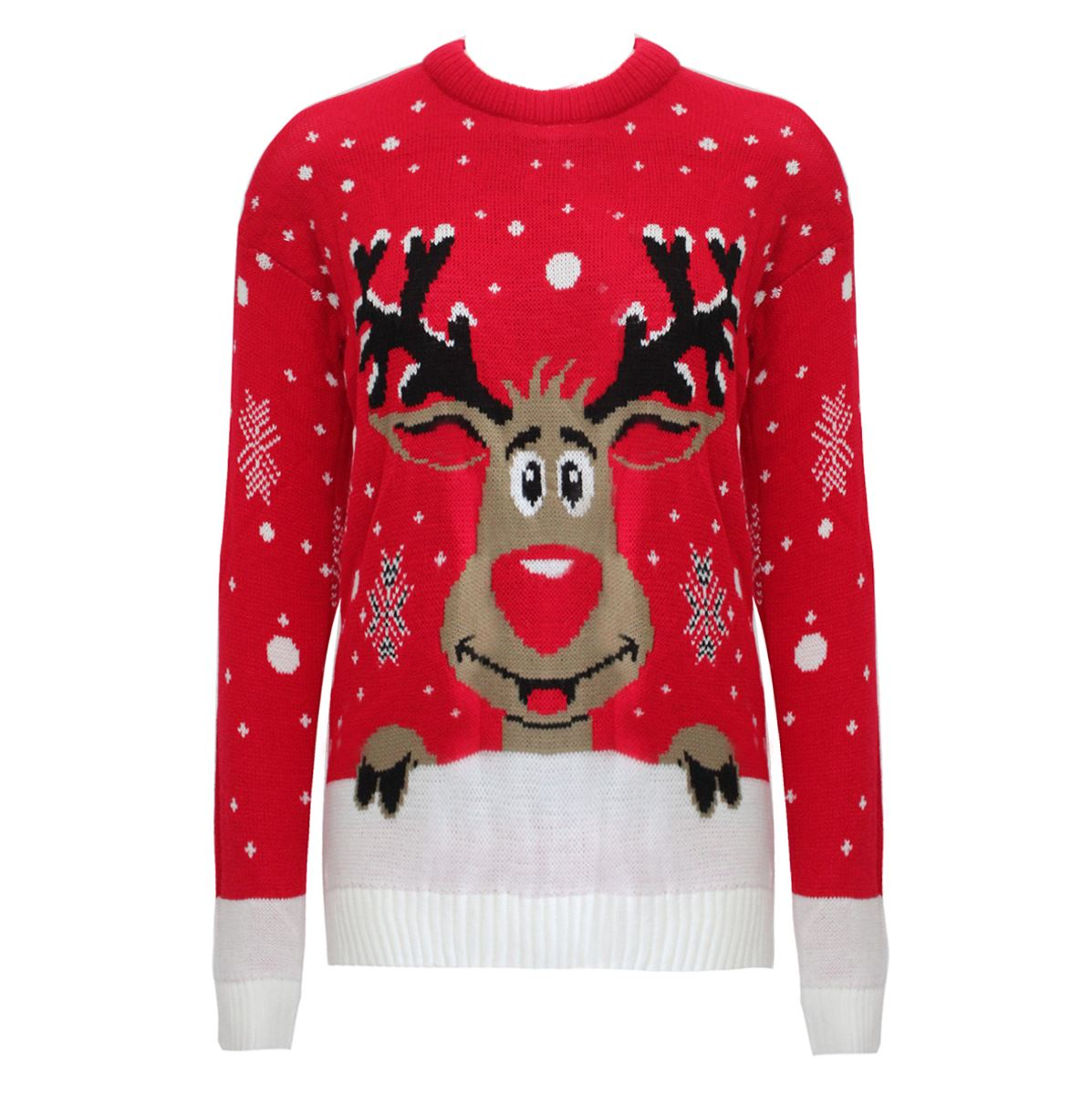 womens novelty rudolph christmas reindeer xmas knit jumper sweater
