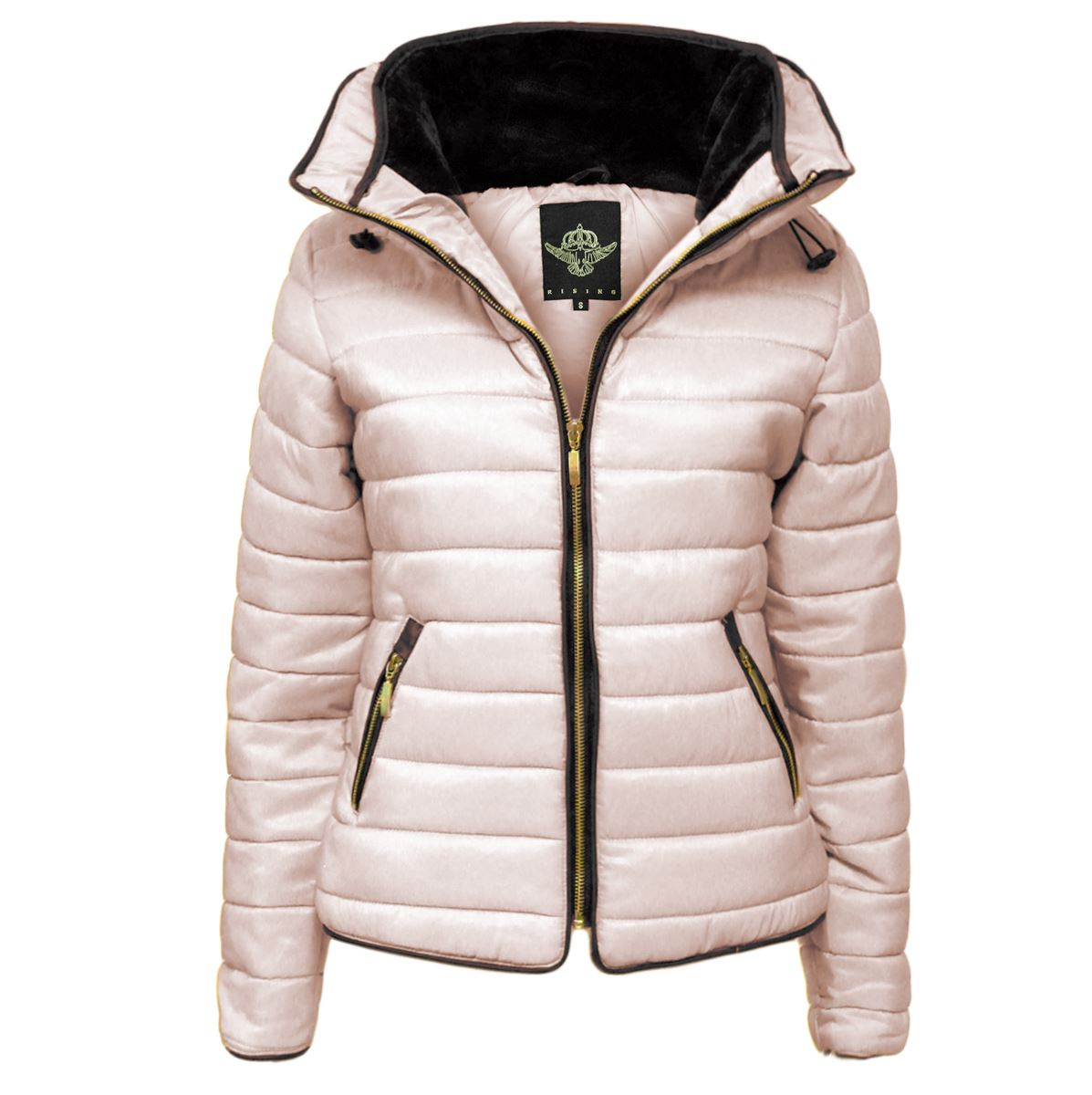 New-Ladies-Quilted-Padded-Puffer-Bubble-Fur-Collar-Warm-Thick-Womens-Jacket-Coat