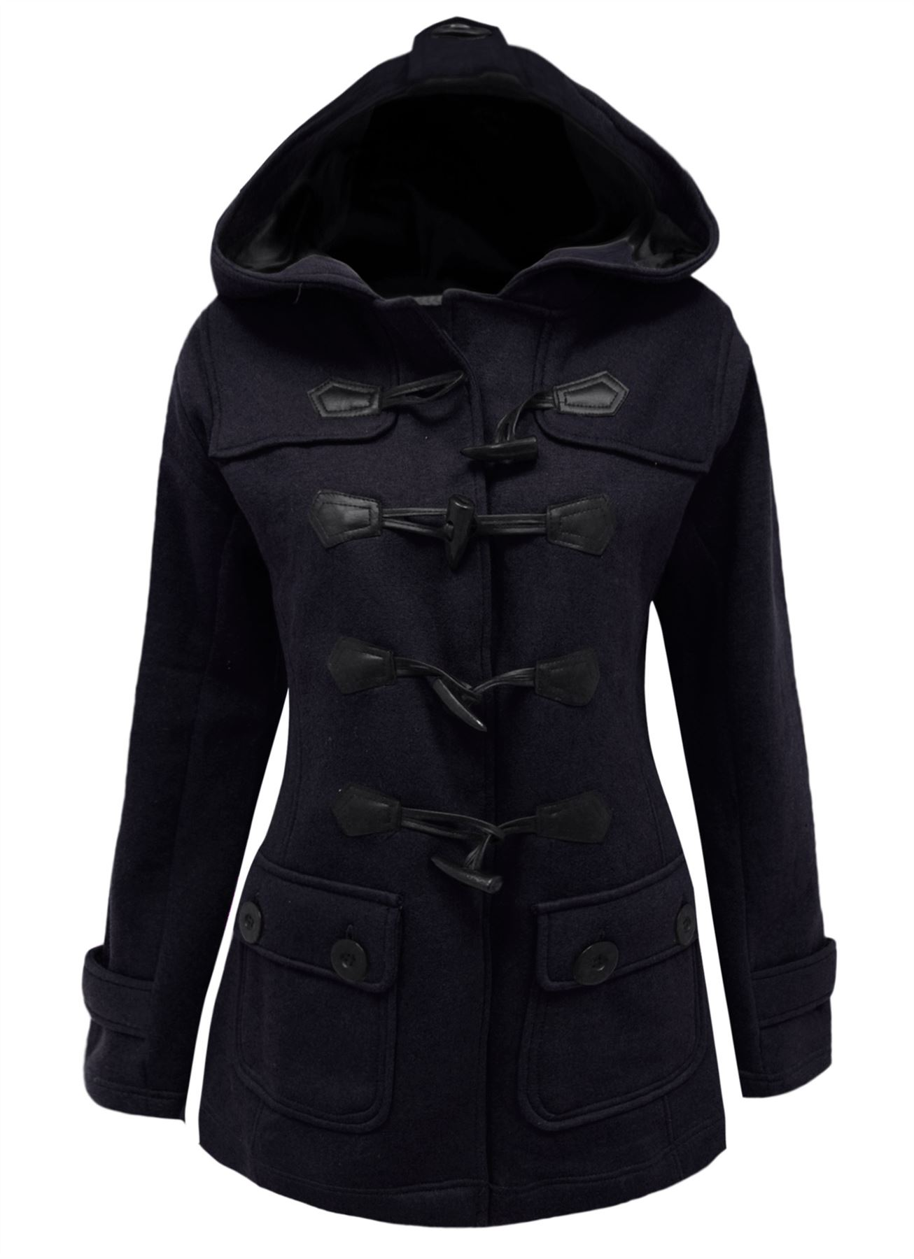 Womens-Duffle-Toggle-Ladies-Fleece-Jacket-Coat-Top