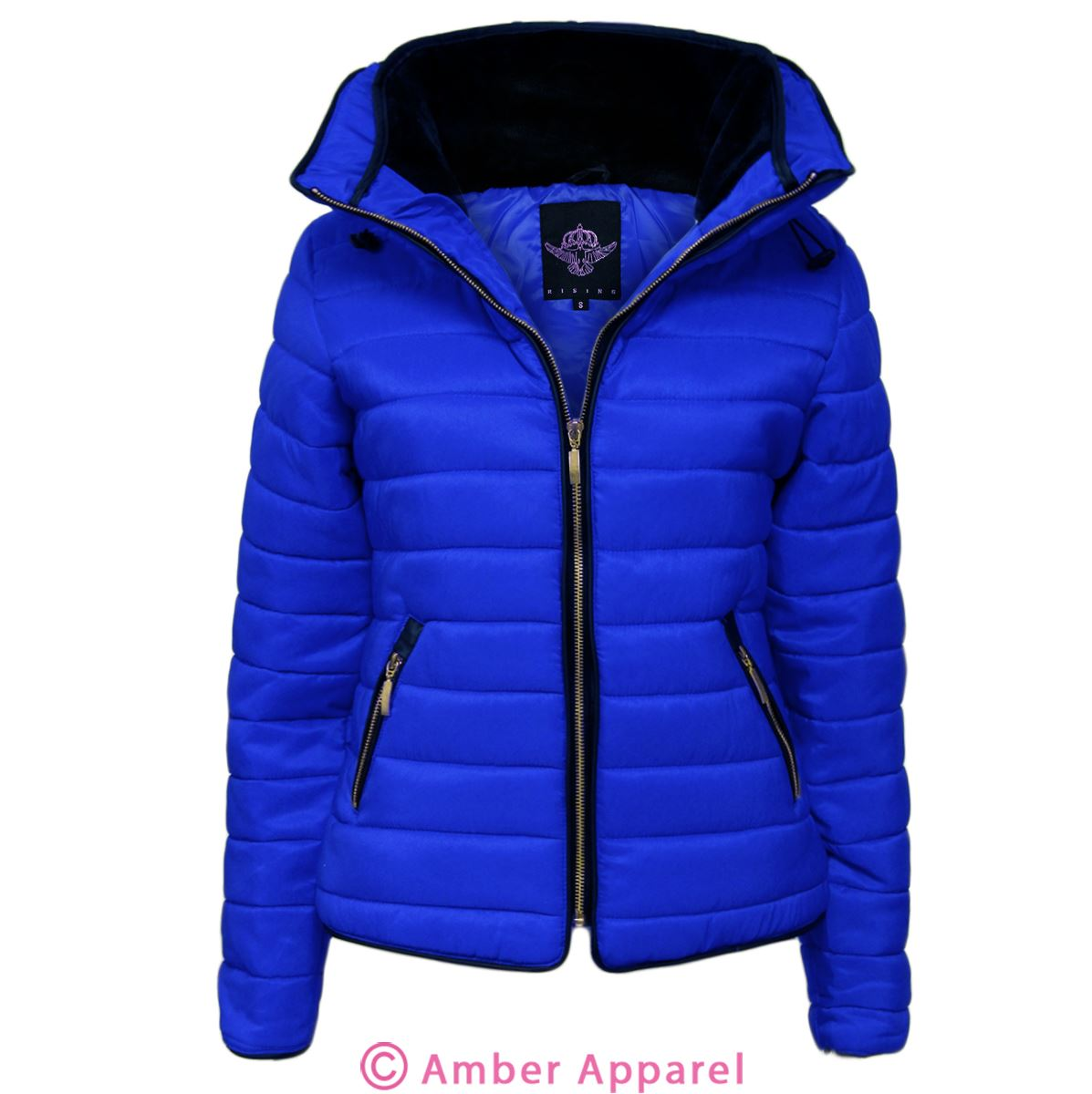 Ladies Quilted Padded Puffer Bubble Fur Collar Warm Thick