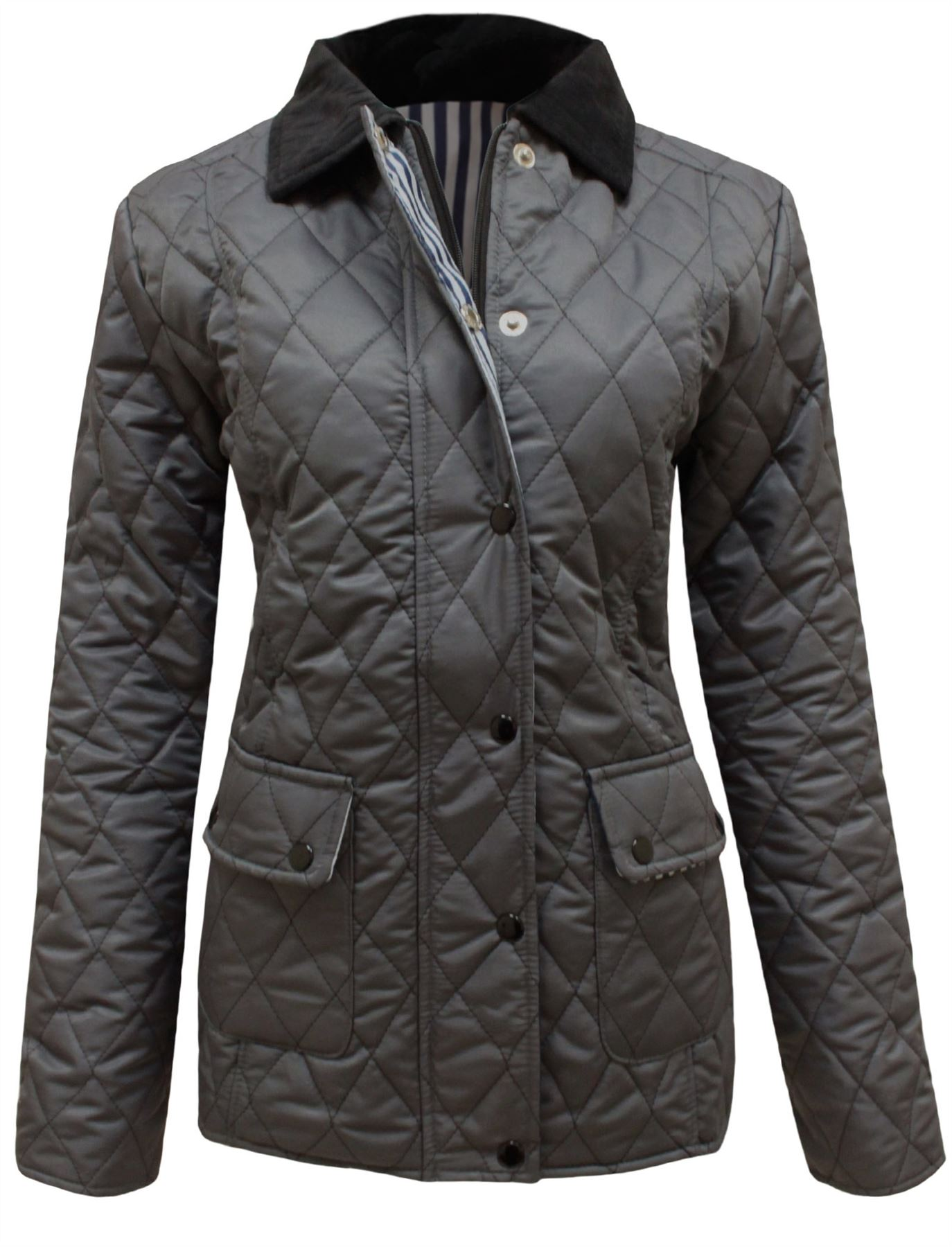 7090ee971ea Details about TaDa Ladies Fitted Quilted Padded Button Zip up Jacket Coat  Plus Size 8-26