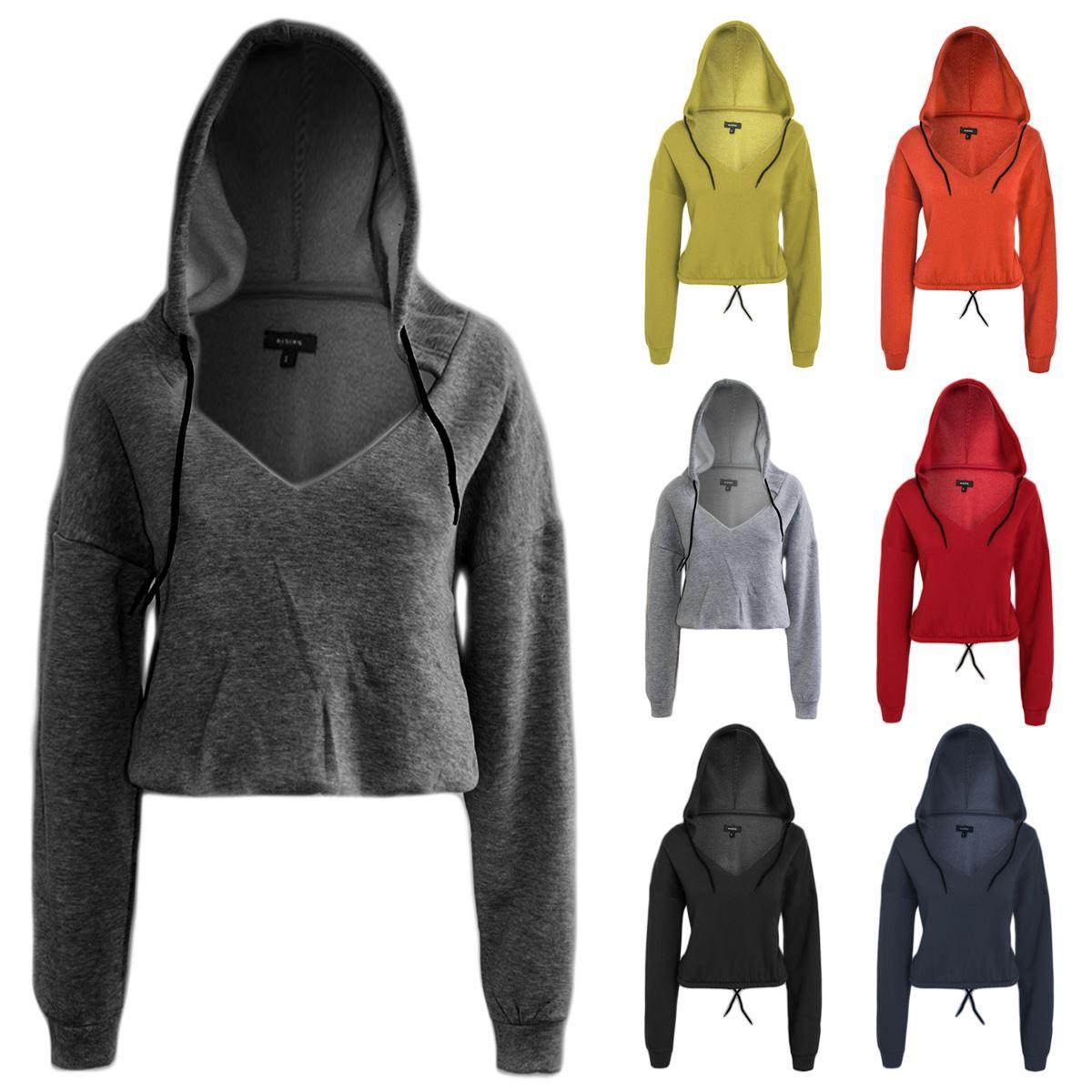 2aa971dcbb1 Details about Womens Fleece Cropped Pullover Plain Hoodie Sweatshirt Crop  Top Hooded Sweater