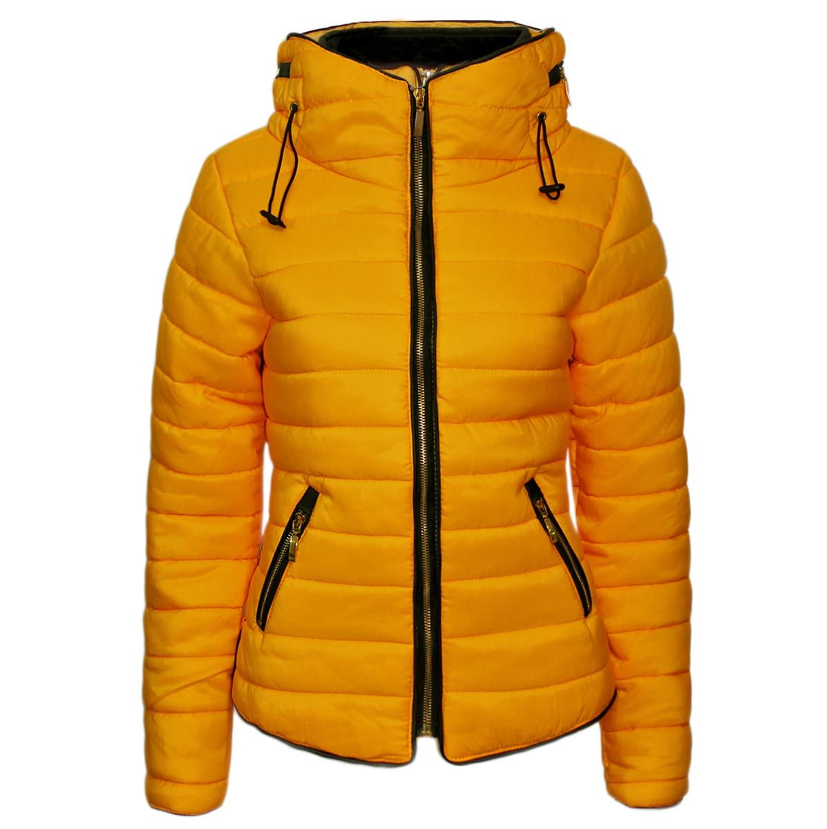 New Ladies Womens Quilted Padded Fur Collar Puffer Bubble Warm ...