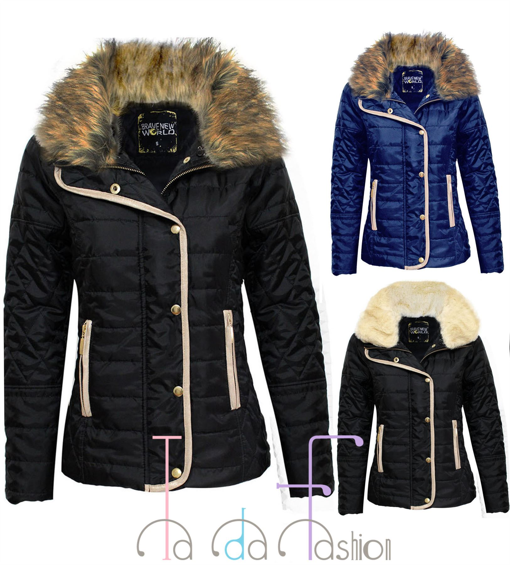 ceb4a5e3276 Details about TaDa Ladies Womens Warm Quilted Fur Collar Padded Button Zip  Jacket Size 8-14
