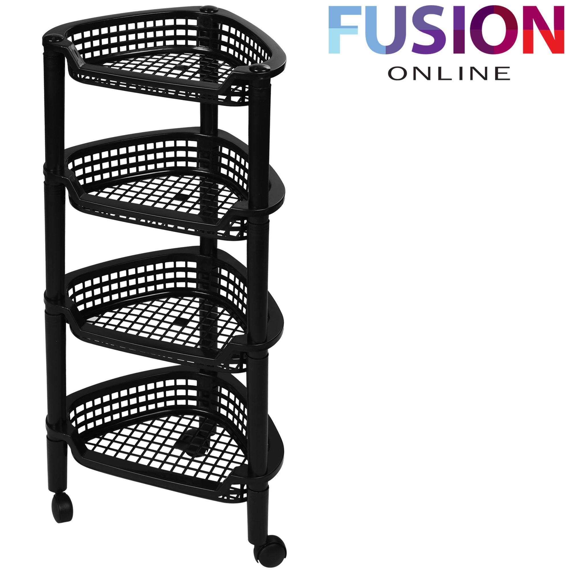 corner trolley rack cart bath kitchen vegetable fruit basket shelf storage stand ebay. Black Bedroom Furniture Sets. Home Design Ideas