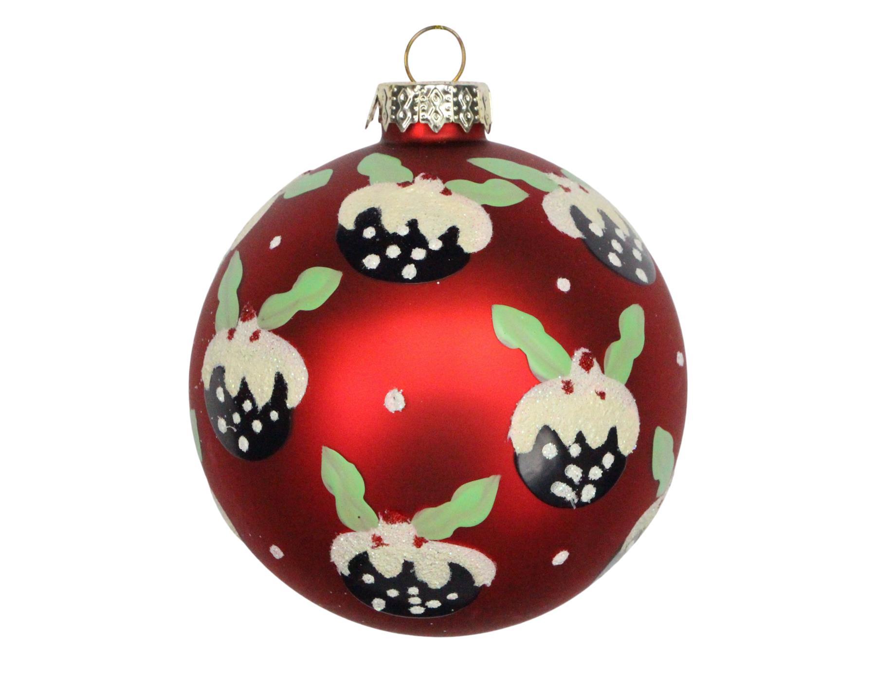 GISELA GRAHAM CHRISTMAS MATT RED GLASS BAUBLE WITH SEQUIN SPIRAL X 3