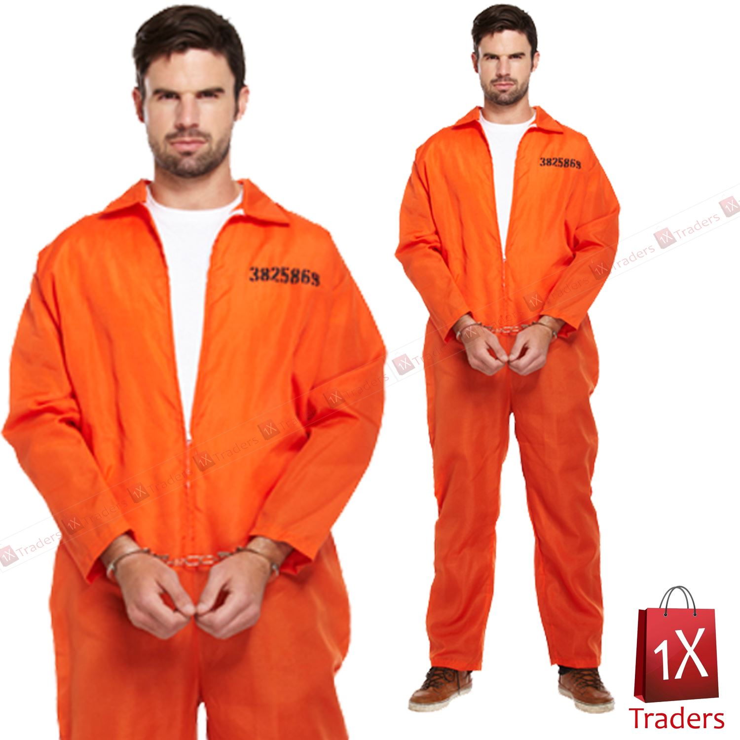 New mens prisoner orange jumpsuit convict prison fancy dress new mens prisoner orange jumpsuit convict prison fancy solutioingenieria Image collections