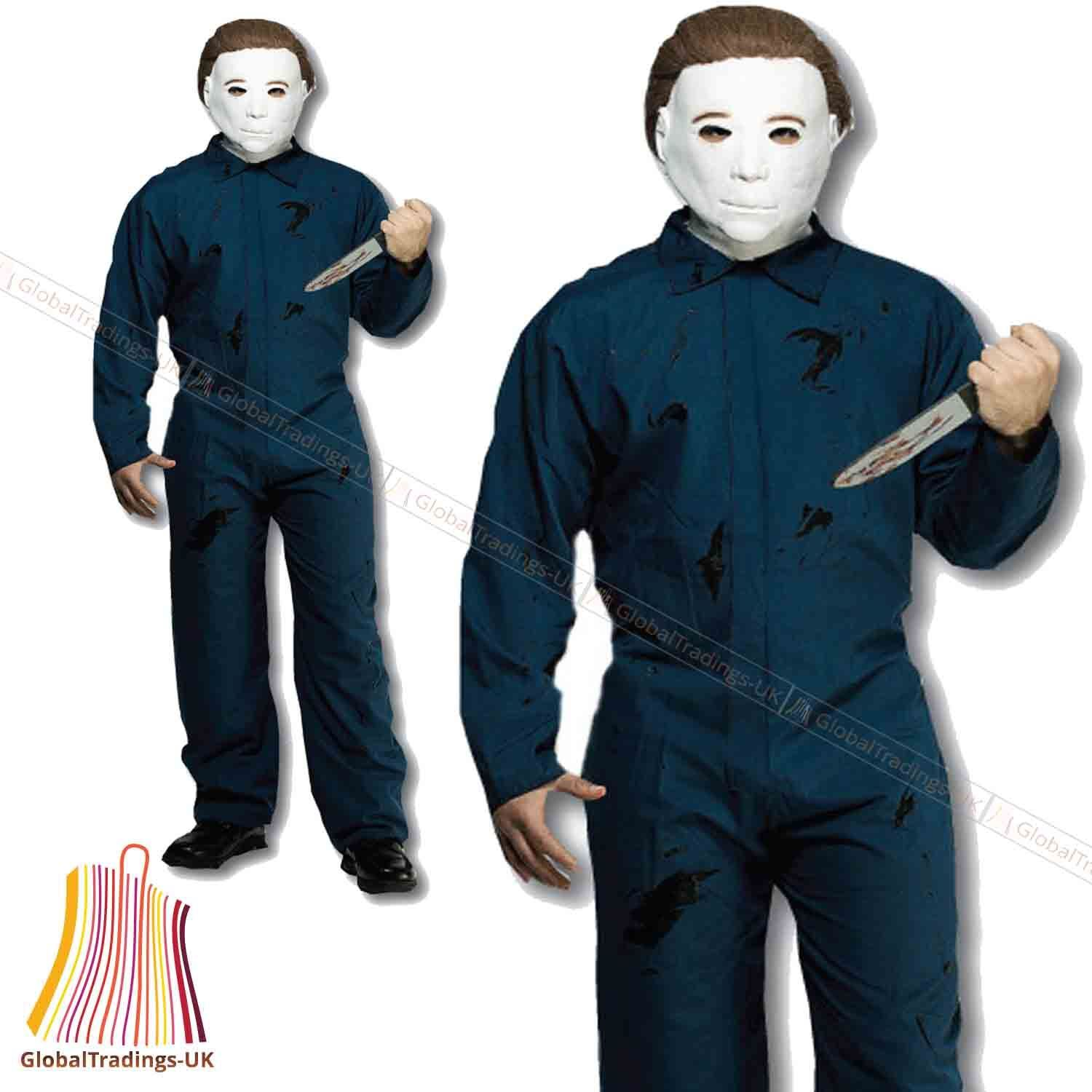 Adult Horror Michael Myers Costume and Mask Halloween Party Men ...