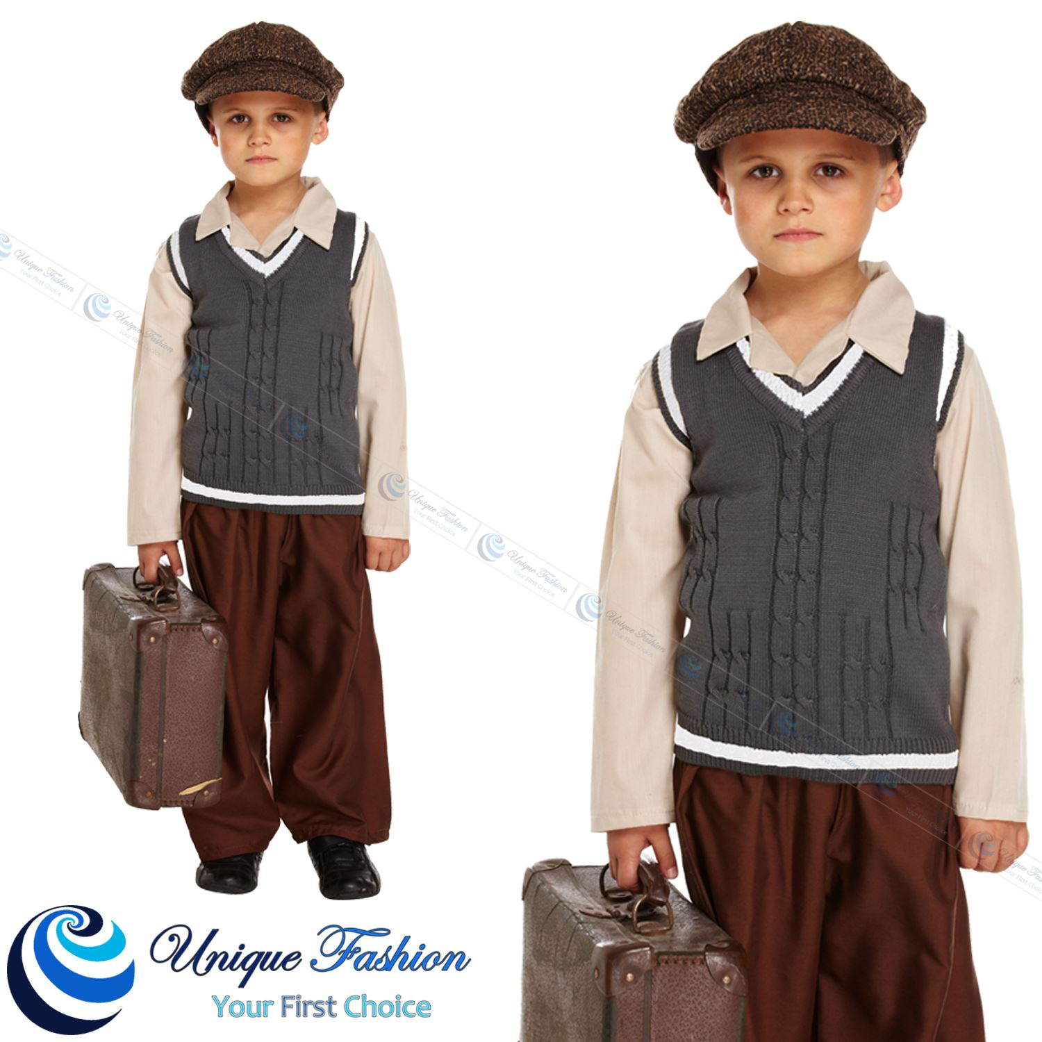 Children World War 2 Book week Evacuee boys Fancy Dress ...