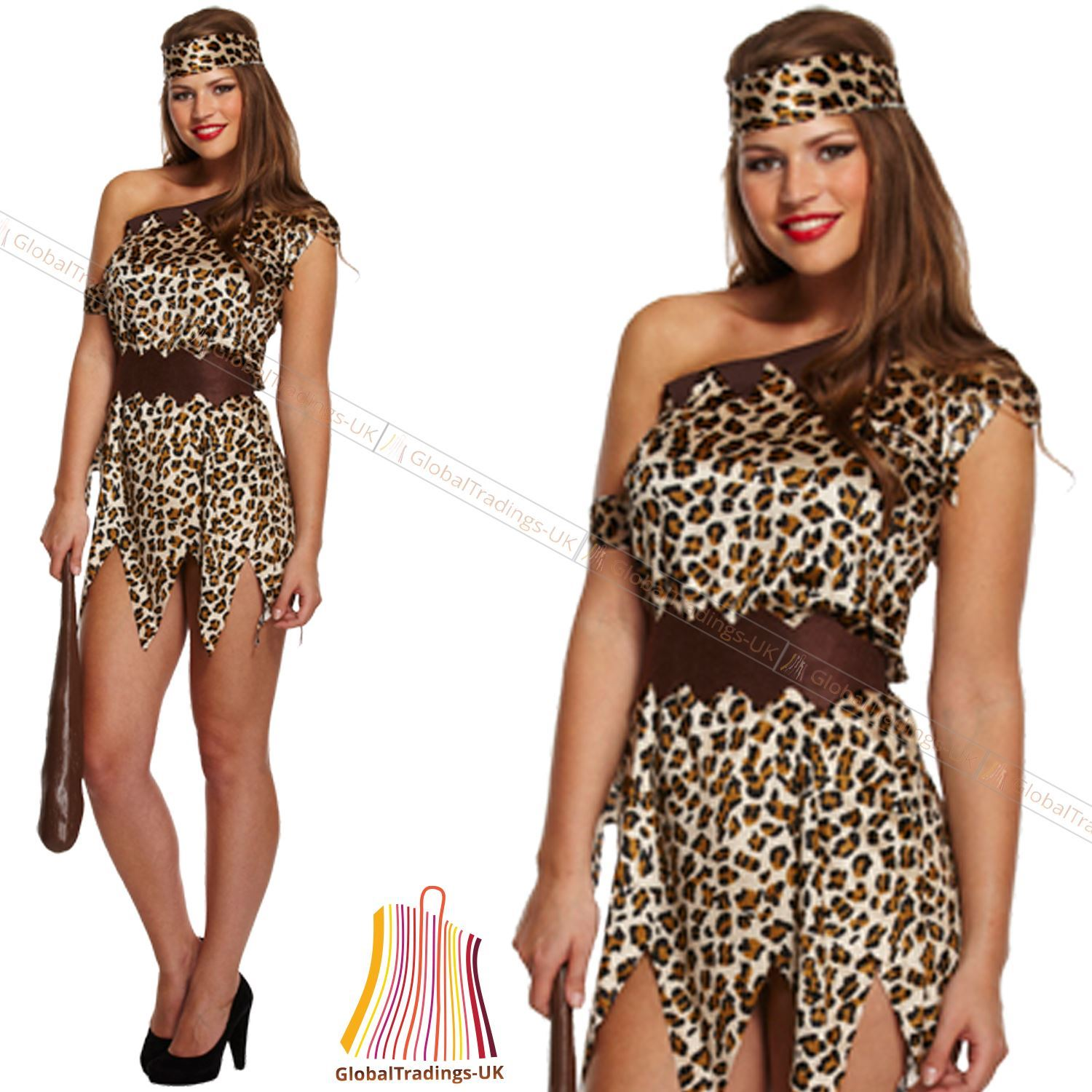 NEW LADIES CAVE WOMEN JUNGLE GIRL FANCY DRESS HEN NIGHT