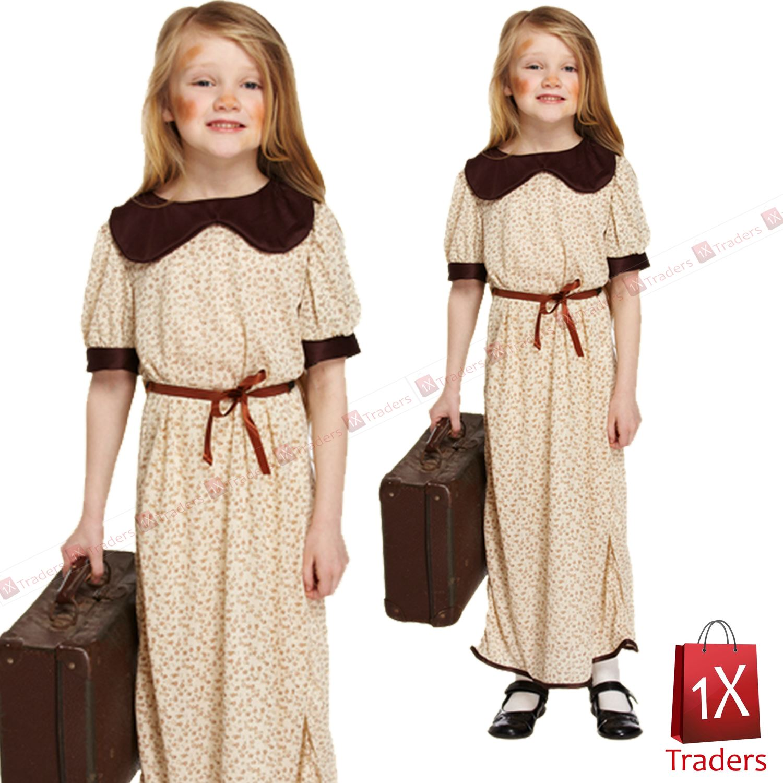 1940s Evacuee Girls Costume World War 2 Orphans Kids Fancy ...
