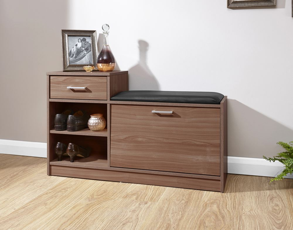 Side table with drawer and shelf - Malmo Shoe Bench Padded Seat W 1 Drawer