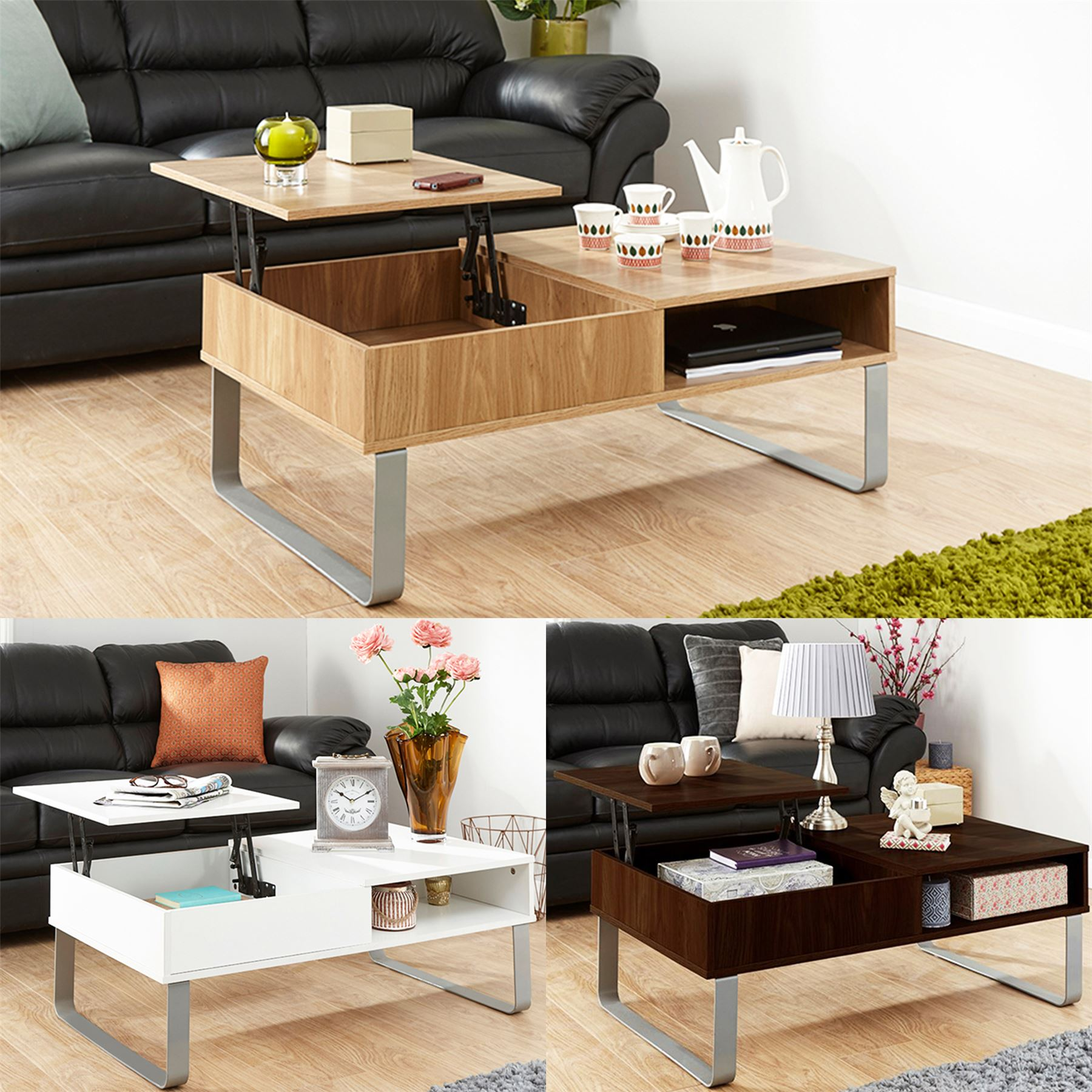 ASPEN LIFT UP COFFEE TABLE TEA SPLIT LEVEL TOP TABLE W LARGE