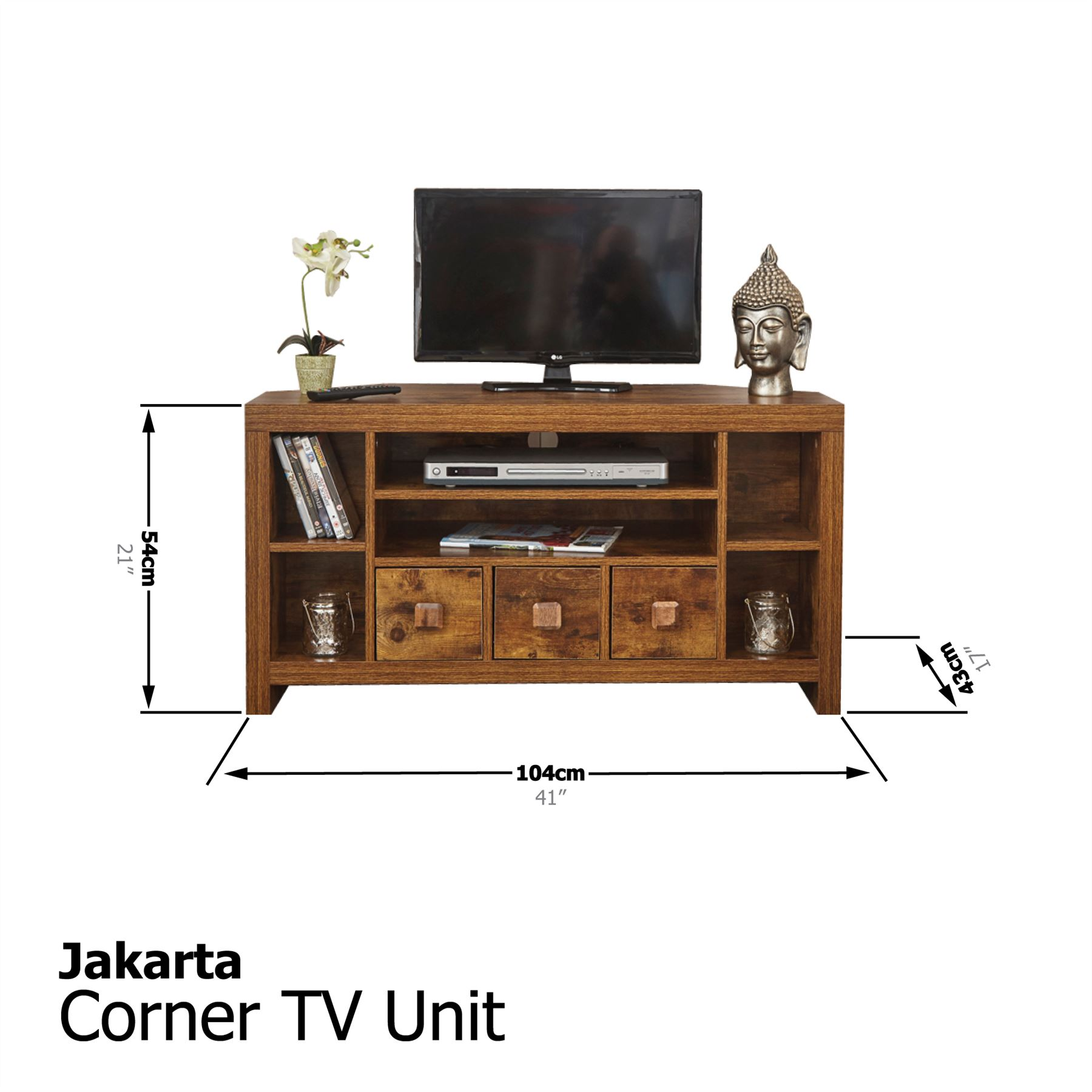 JAKARTA MANGO LIVING ROOM NEST TABLE SLIM DRAWERS TV UNIT CUBE