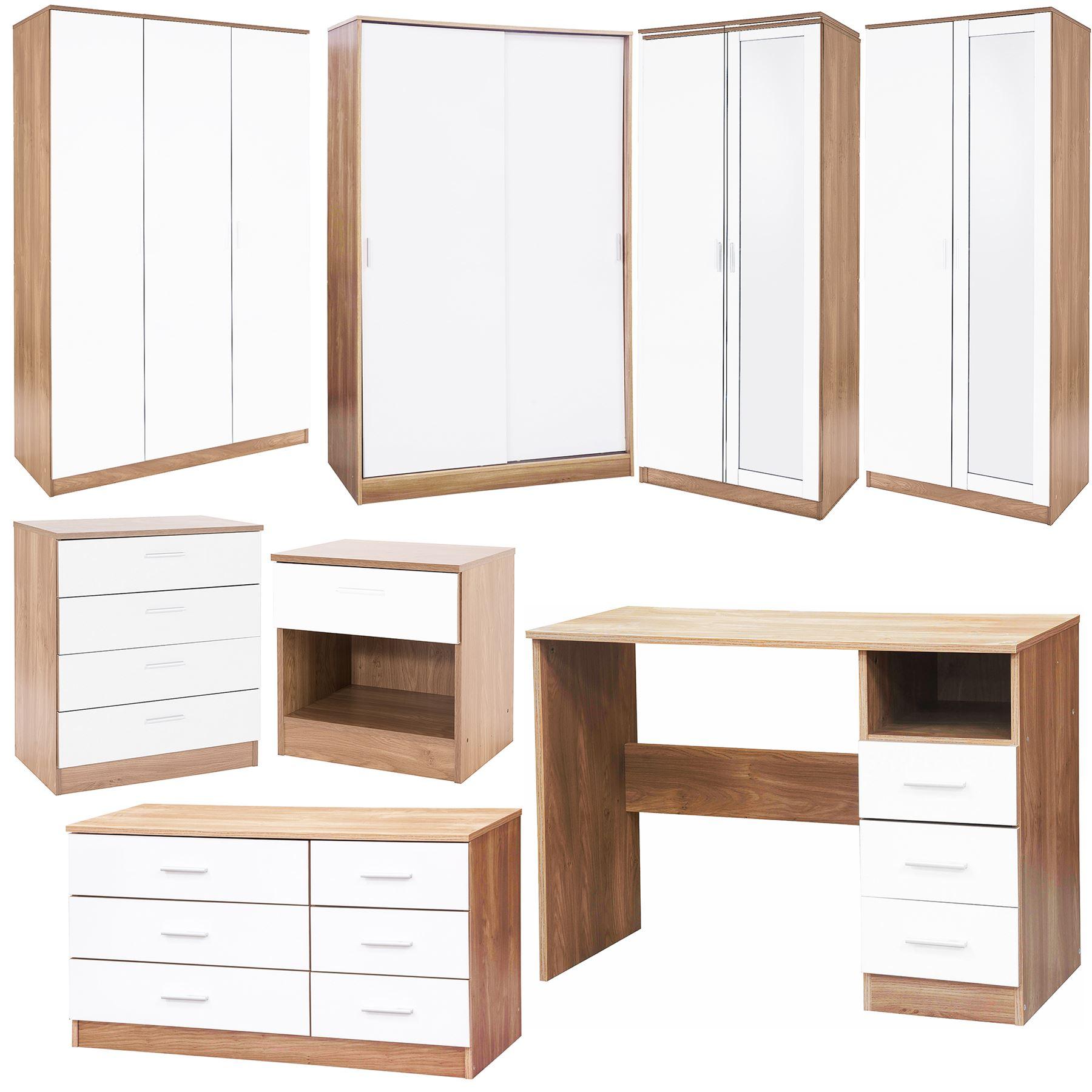 Details about BEDROOM FURNITURE 3 PIECE SET WHITE GLOSS & OAK DRAWER  BEDSIDE CHEST WARDROBE