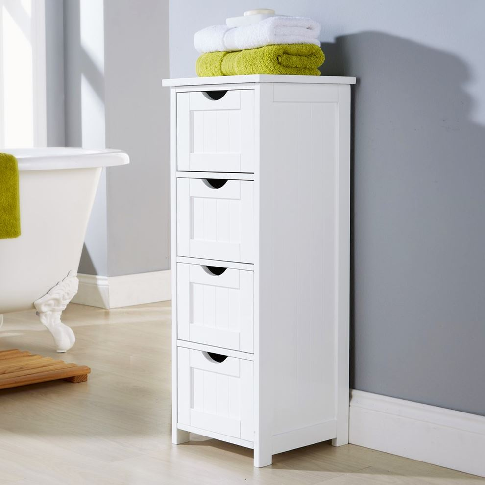 White multi use bathroom storage unit 4 drawer cabinet for White bathroom chest