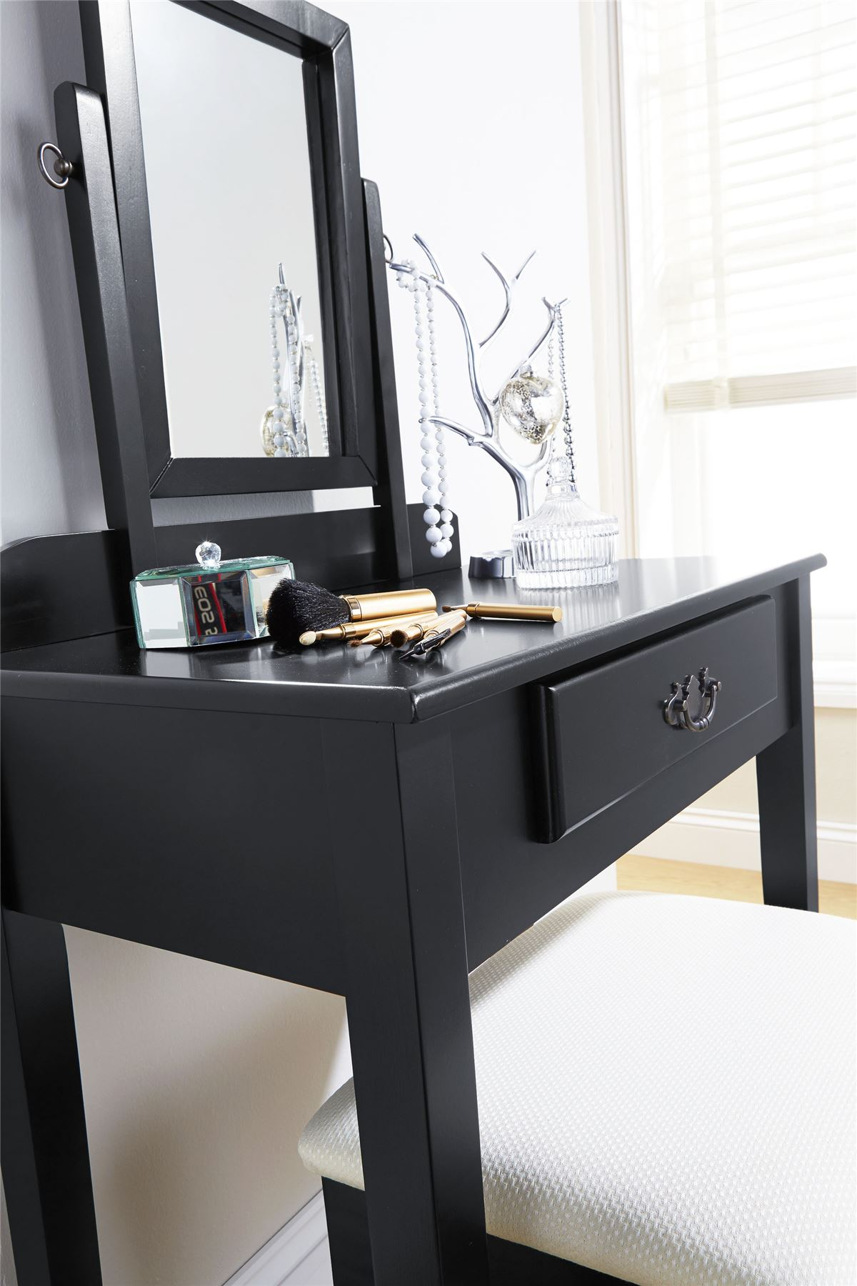 Fabric Dressing Table ~ Shaker dressing table set makeup dresser desk drawer