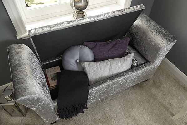 Verona Crushed Velvet Window Seat Ottoman Storage Box