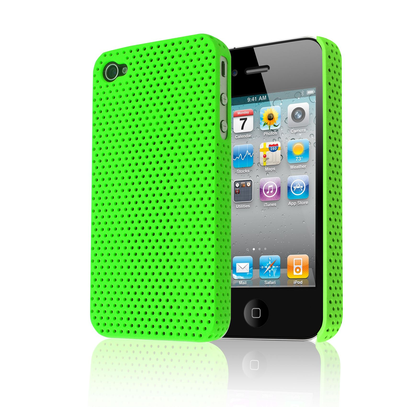 iphone 4s 4g mesh perforated back impact plastic cover for 10899