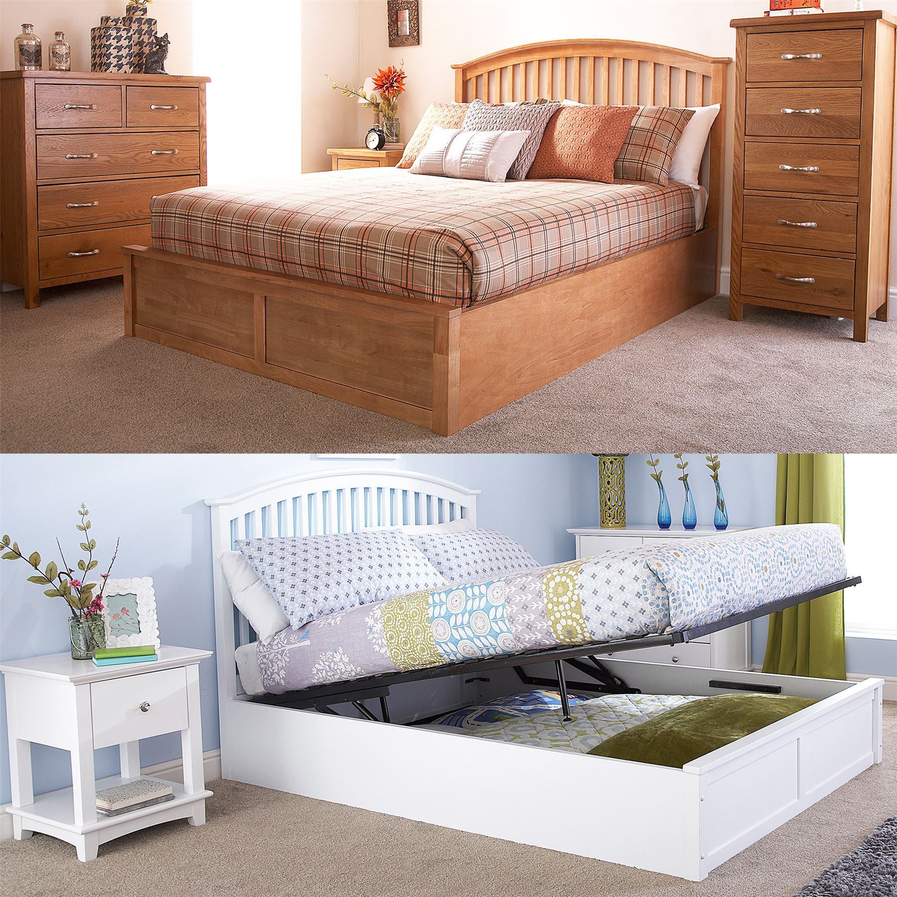 Miraculous Details About Madrid Wooden Ottoman Storage Bed Gas Lift Up 4Ft6 Double 5Ft King Oak White Forskolin Free Trial Chair Design Images Forskolin Free Trialorg