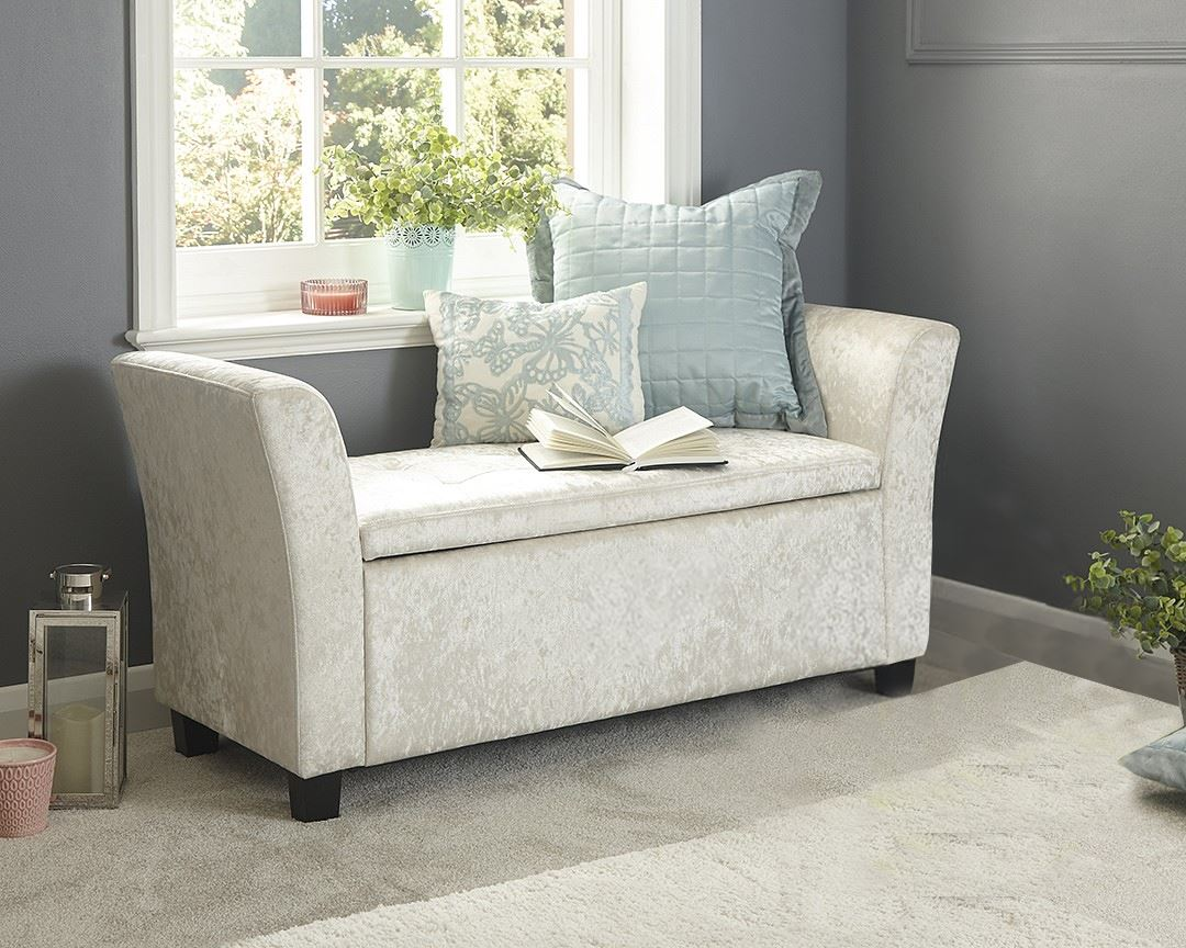 Verona Crushed Velvet Window Seat & VERONA CRUSHED VELVET WINDOW SEAT OTTOMAN STORAGE BOX FOOTSTOOL ...