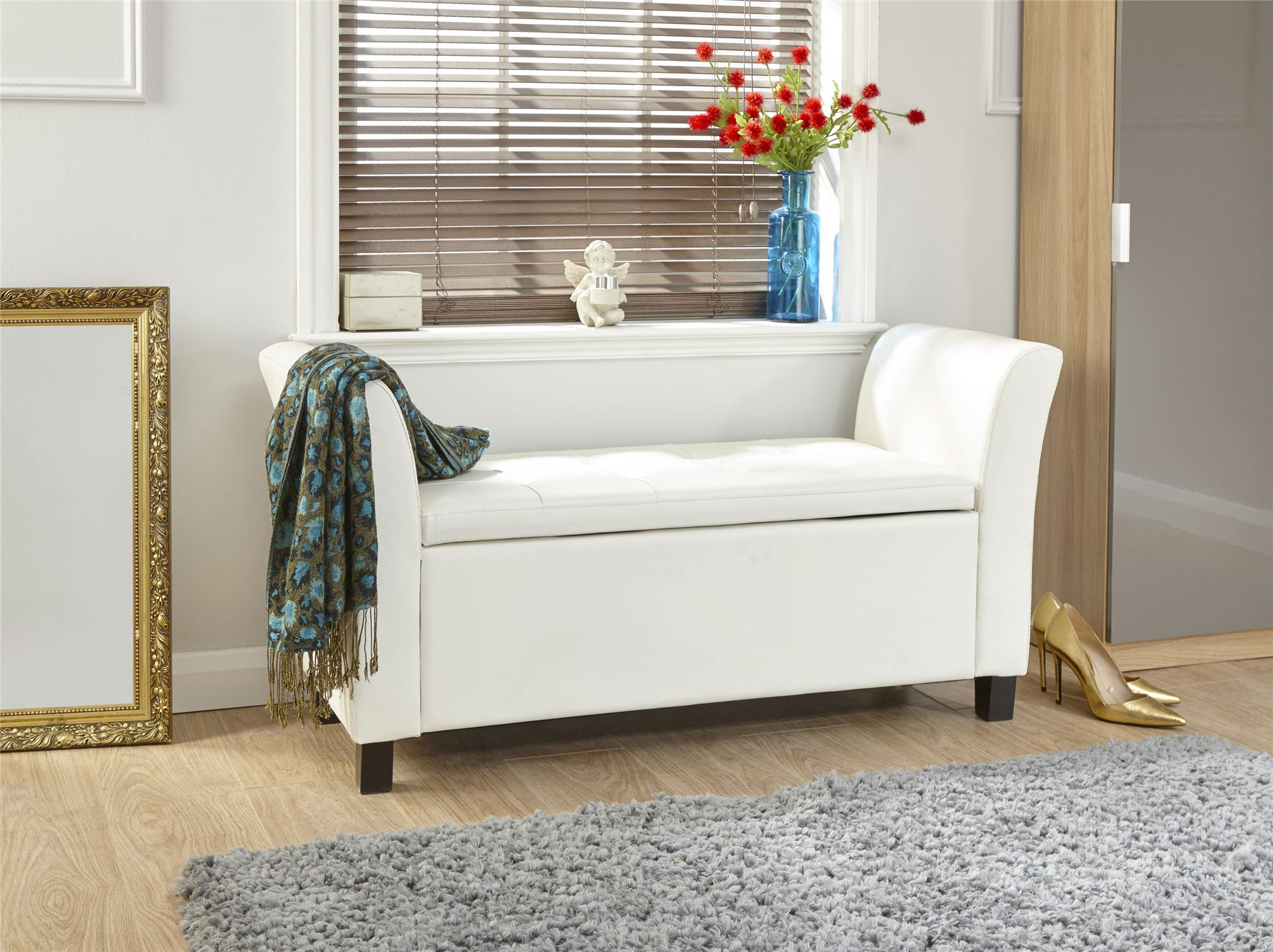 Verona Leather Window Seat Ottoman Storage Box Large Blanket Box Bench Footstool Ebay