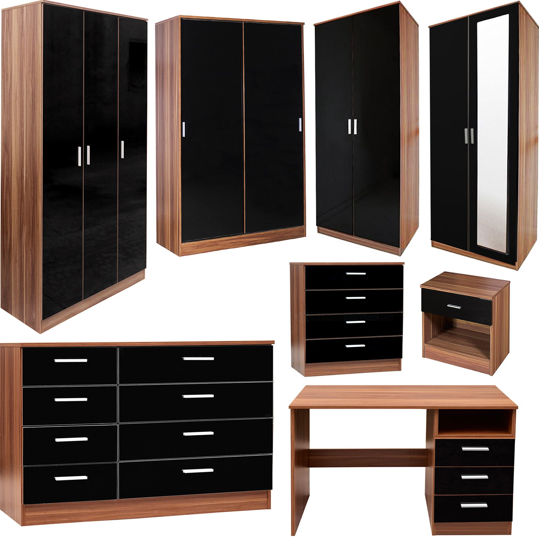 BEDROOM FURNITURE 3 PIECE SET BLACK GLOSS & WALNUT WARDROBE