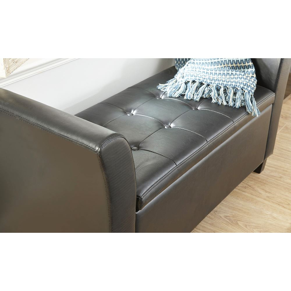 VERONA LEATHER WINDOW SEAT OTTOMAN STORAGE BOX LARGE