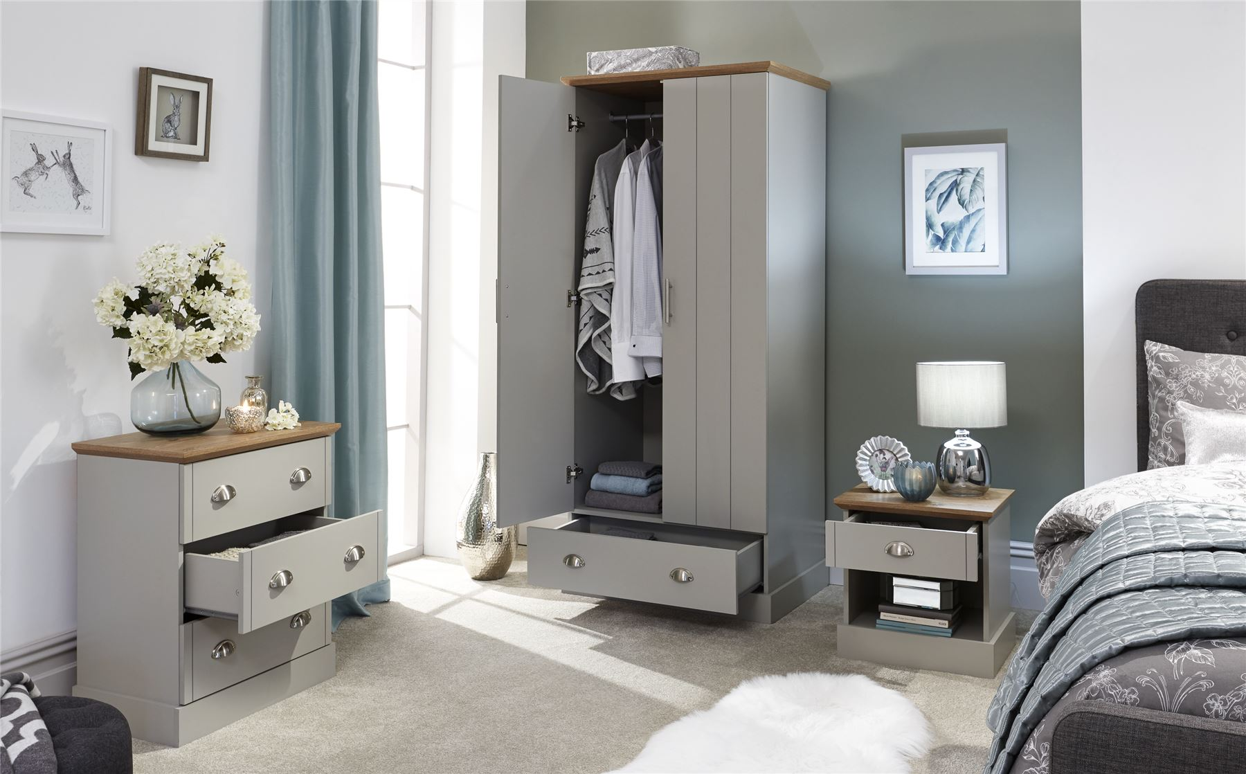 Details about KENDAL RANGE BEDROOM FURNITURE WARDROBE DRESSING TABLE  CABINET BEDSIDE TABLE
