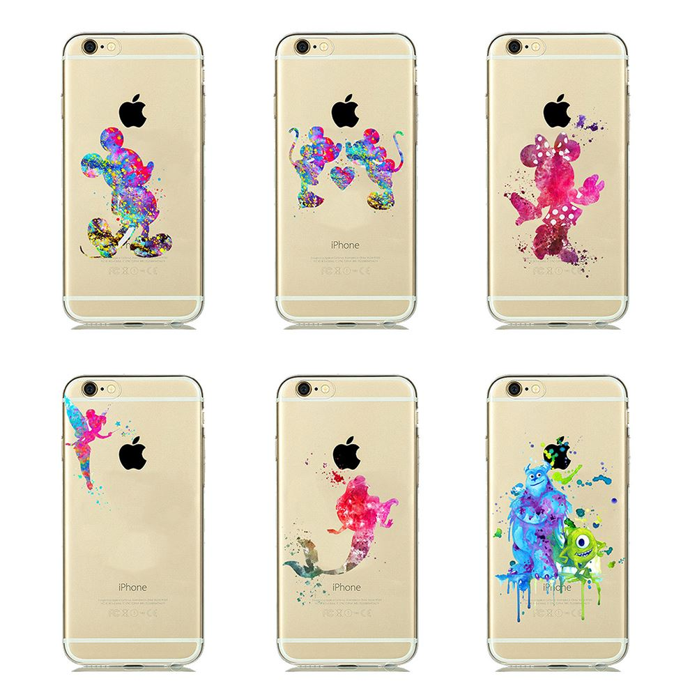 watercolour disney characters cartoon tpu gel back case for iphone 7 iphone 6s 6 ebay. Black Bedroom Furniture Sets. Home Design Ideas