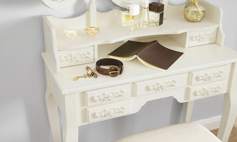 ARABELLA DRESSING TABLE SET VANITY MAKEUP DESK W/ PADDED STOOL & 3