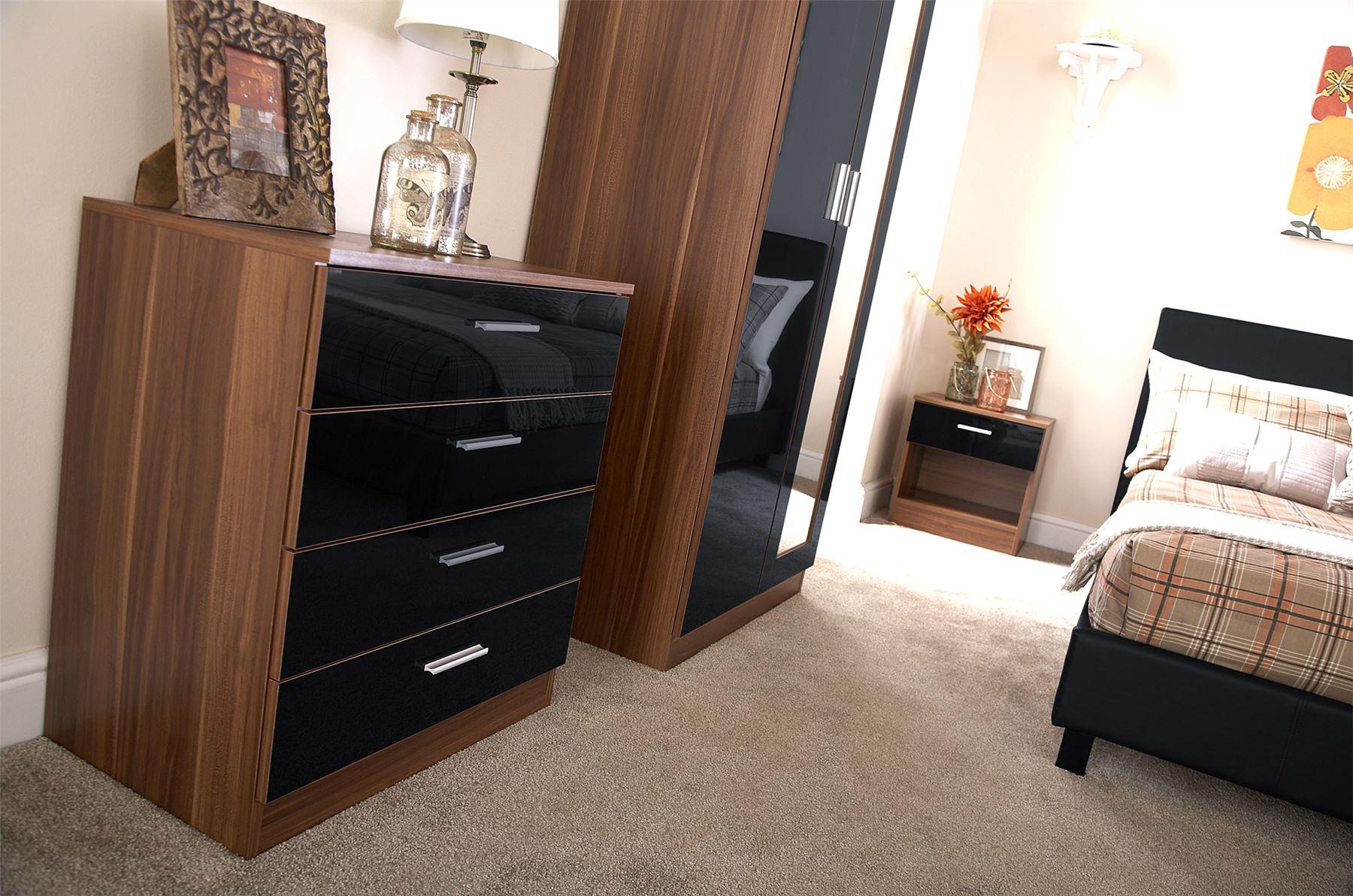 Bedroom Furniture 3 Piece Set Black Gloss Amp Walnut