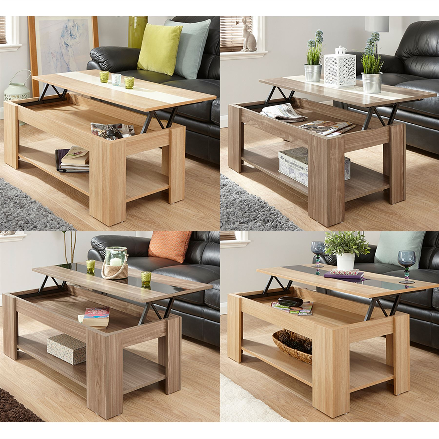 LIFT UP COFFEE TABLE GLOSS STRIP TEA ESPRESSO LOUNGE TABLE WITH