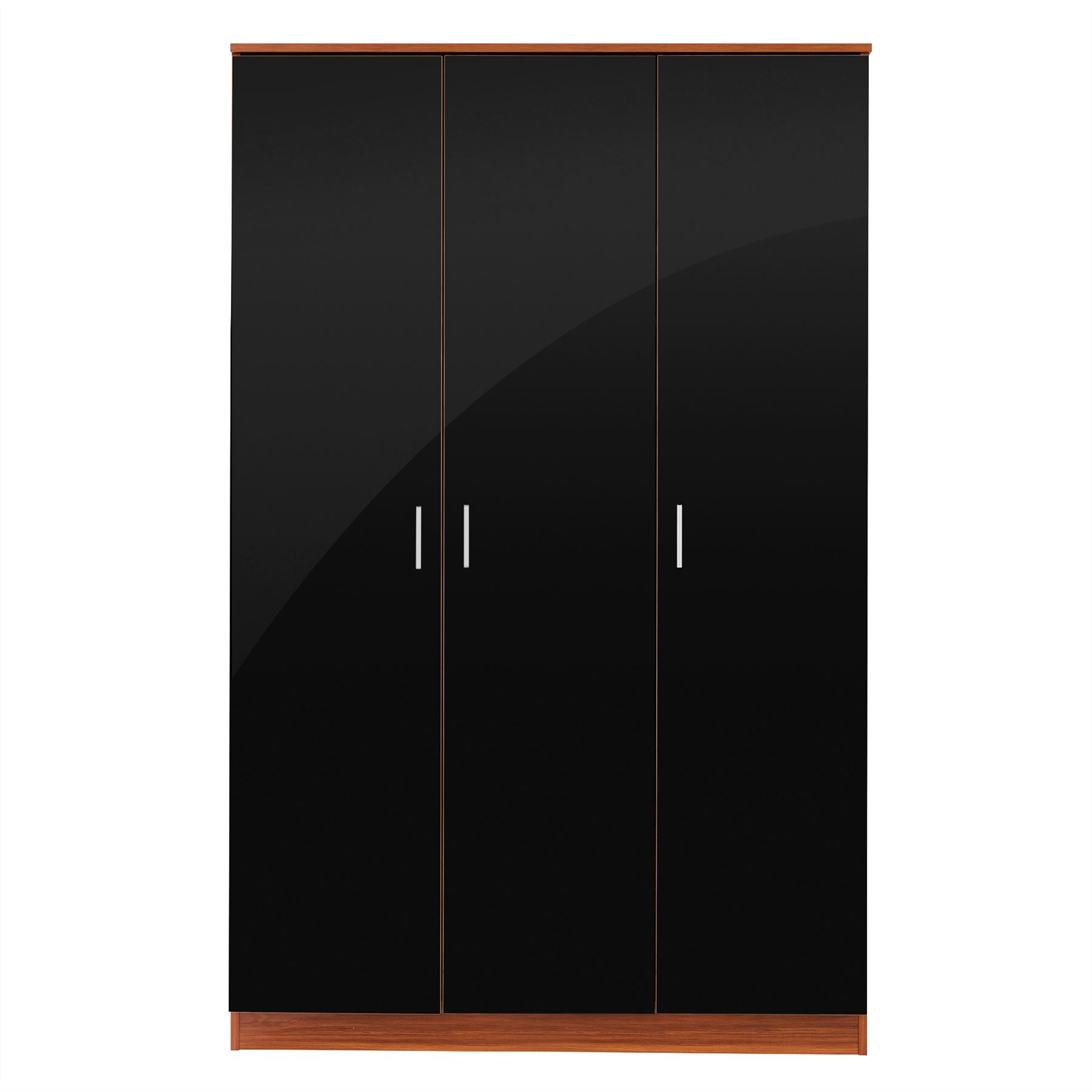 Caspian High Gloss Black & Walnut Bedroom Furniture Set Full