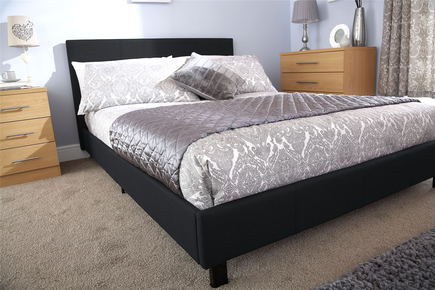 Bed In A Box Fabric Hopsack Bed Modern Style 3ft 4ft 4ft6