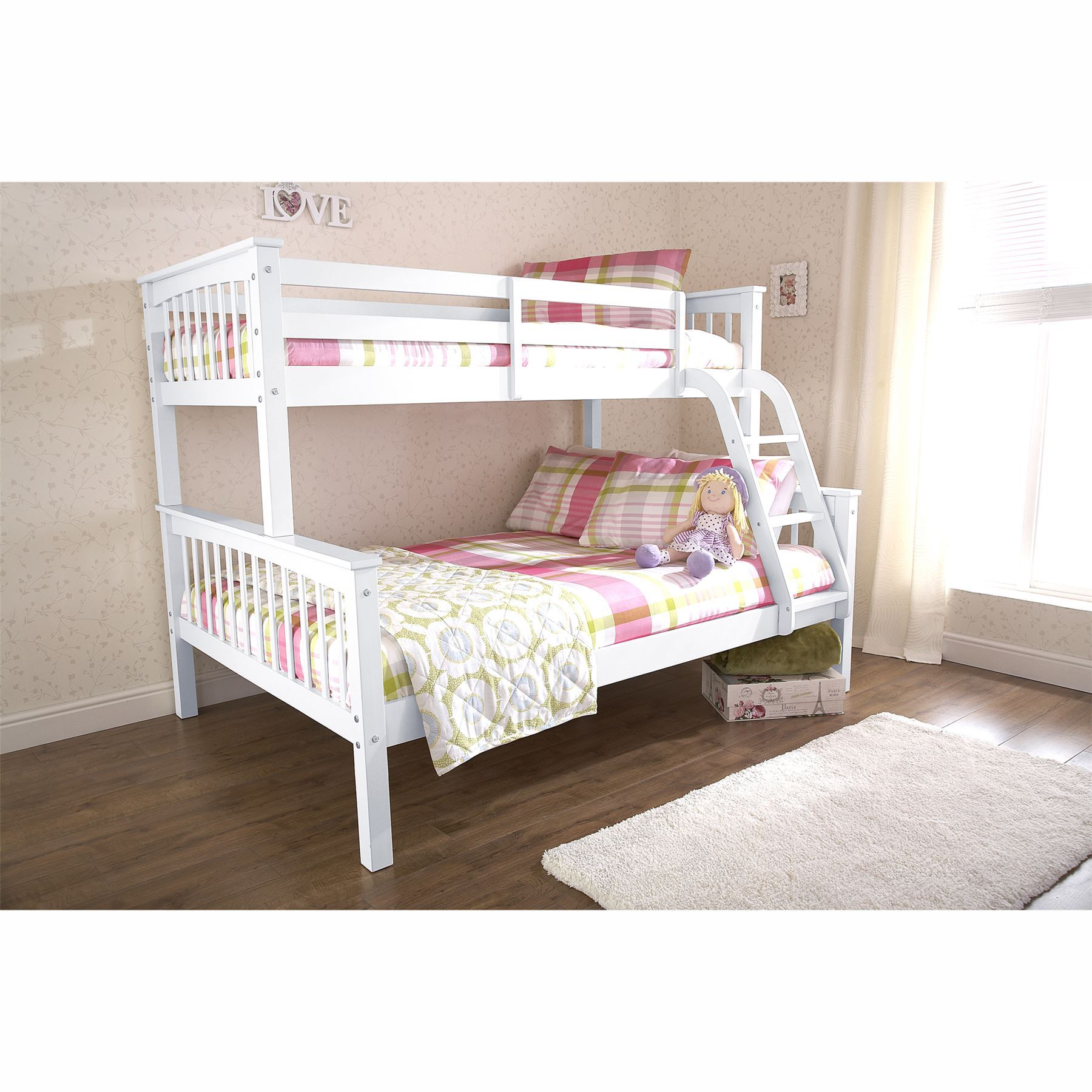 Novaro trio white bunk bed frames 3ft single 4ft6 double for Childrens double beds