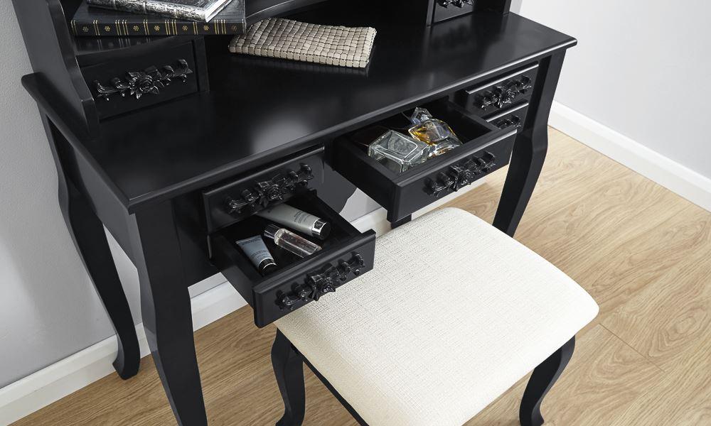Arabella Dressing Table Set Vanity Makeup Desk W/ Stool & 3 Oval