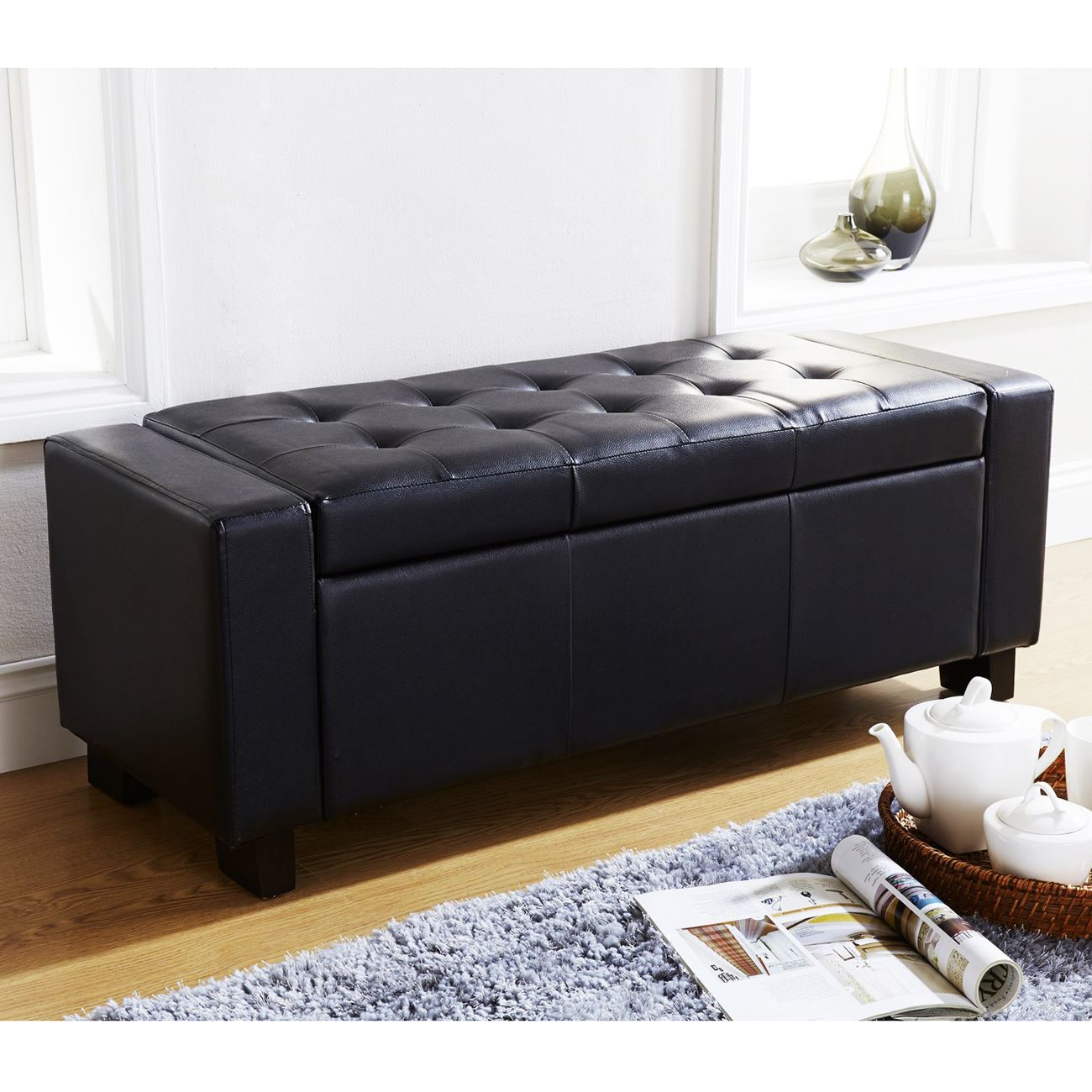 Item specifics  sc 1 st  eBay & VERONA OTTOMAN BLANKET BOX STORAGE BENCH FAUX LEATHER FOOT STOOL ...