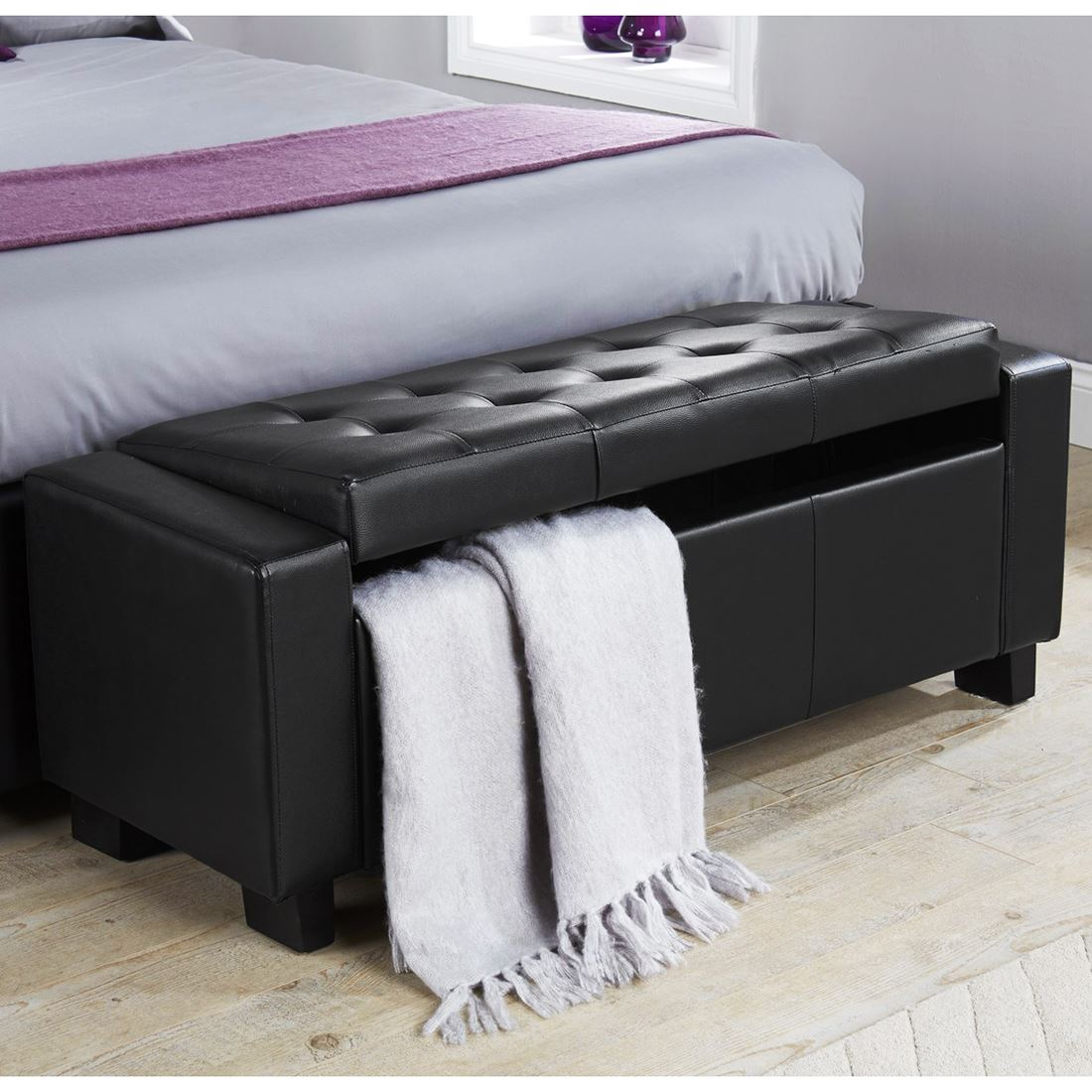 Modus Upholstered Milano Blanket Storage Bench White: FAUX LEATHER FABRIC CHENILLE CRUSHED VELVET HOPSACK