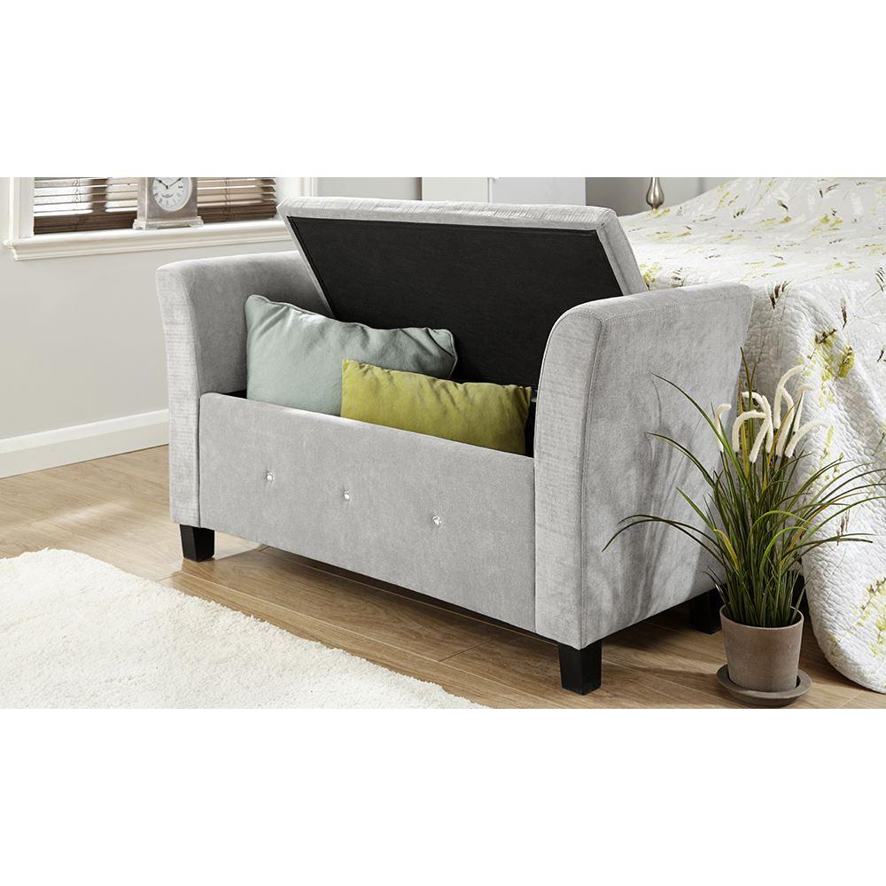 Modus Upholstered Milano Blanket Storage Bench White: VERONA CHENILLE DIAMANTE WINDOW SEAT OTTOMAN STORAGE BOX