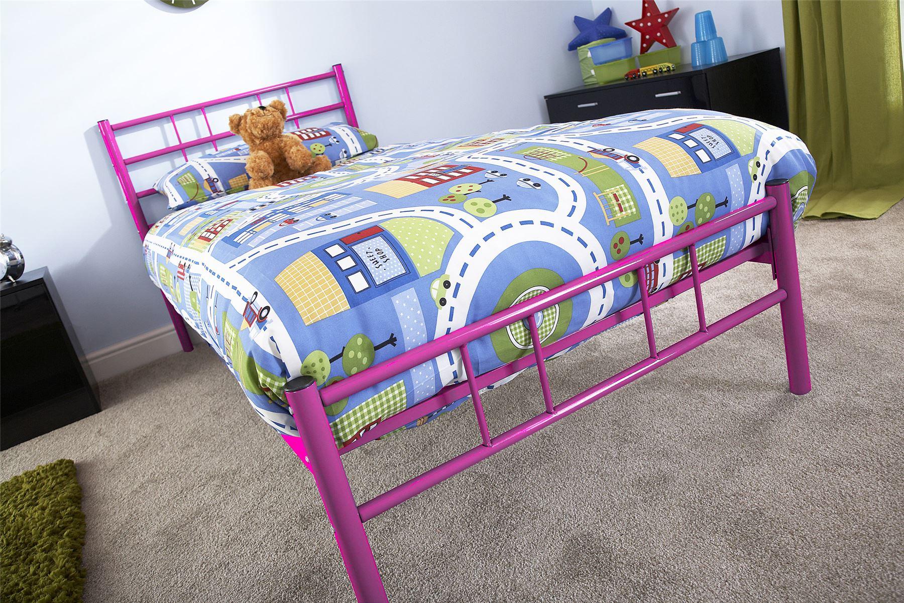 Morgan Metal Bedstead Bed Frame 3ft 4ft 4ft6 Bed Black White Silver Pink Blue Ebay