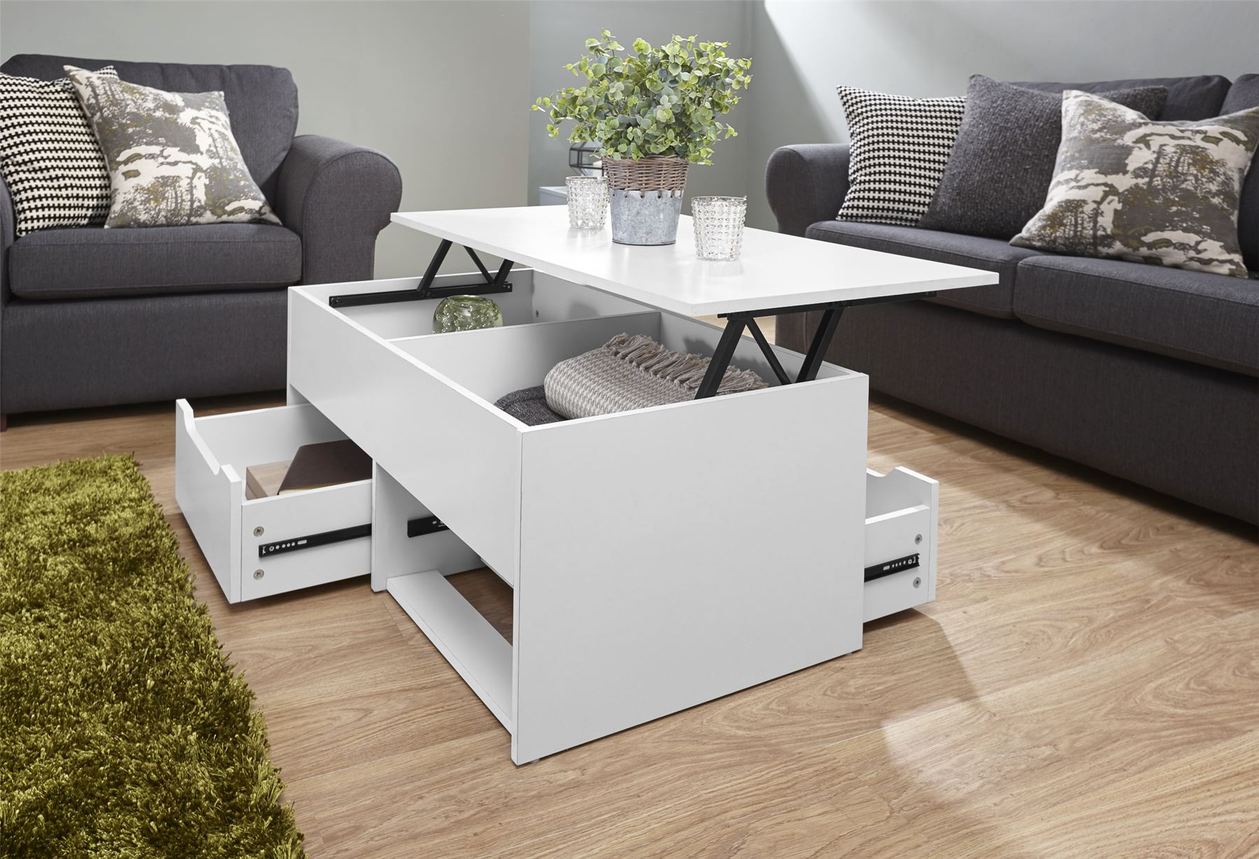 ULTIMATE STORAGE LIFT UP COFFEE TABLE TEA SPLIT LEVEL TOP TABLE W