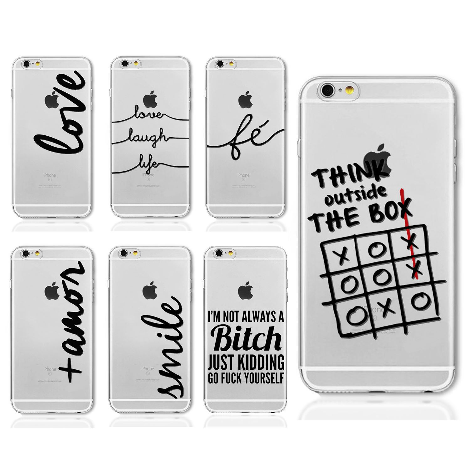 size 40 b2f14 21d1e Details about QUOTES WORD SAYING DESIGN CLEAR TPU GEL CASE COVER FOR IPHONE  8 8+ 7 7+ 6S 6+ SE