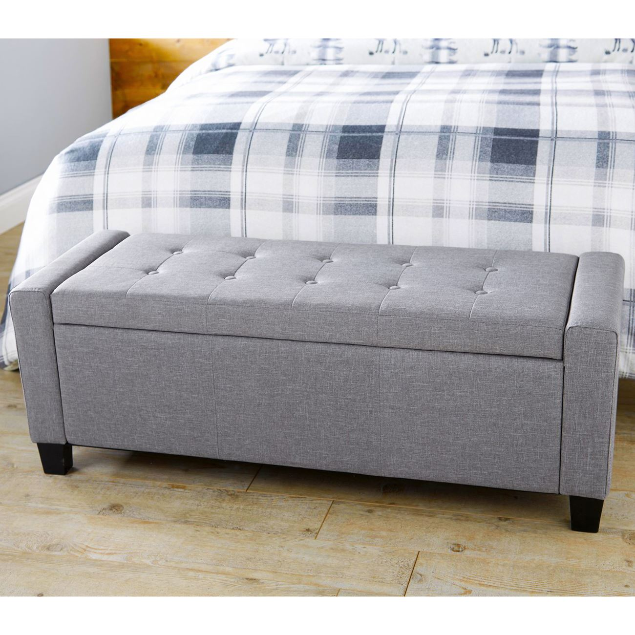 Details About Verona Ottoman Storage Blanket Box Hopsack Fabric Seat Bench Foot Stool Silver