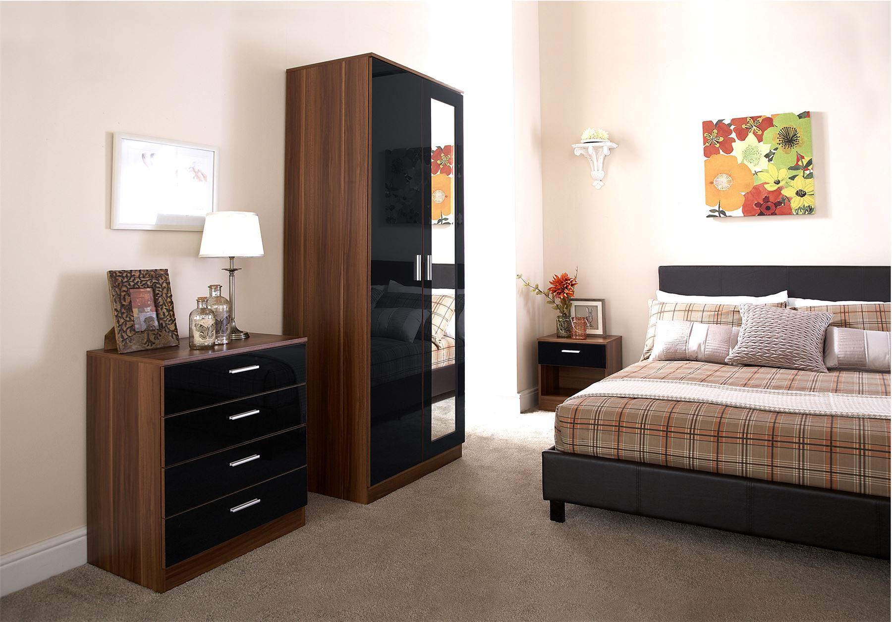 BEDROOM FURNITURE 3 PIECE SET BLACK GLOSS & WALNUT WARDROBE BEDSIDE DRAWE